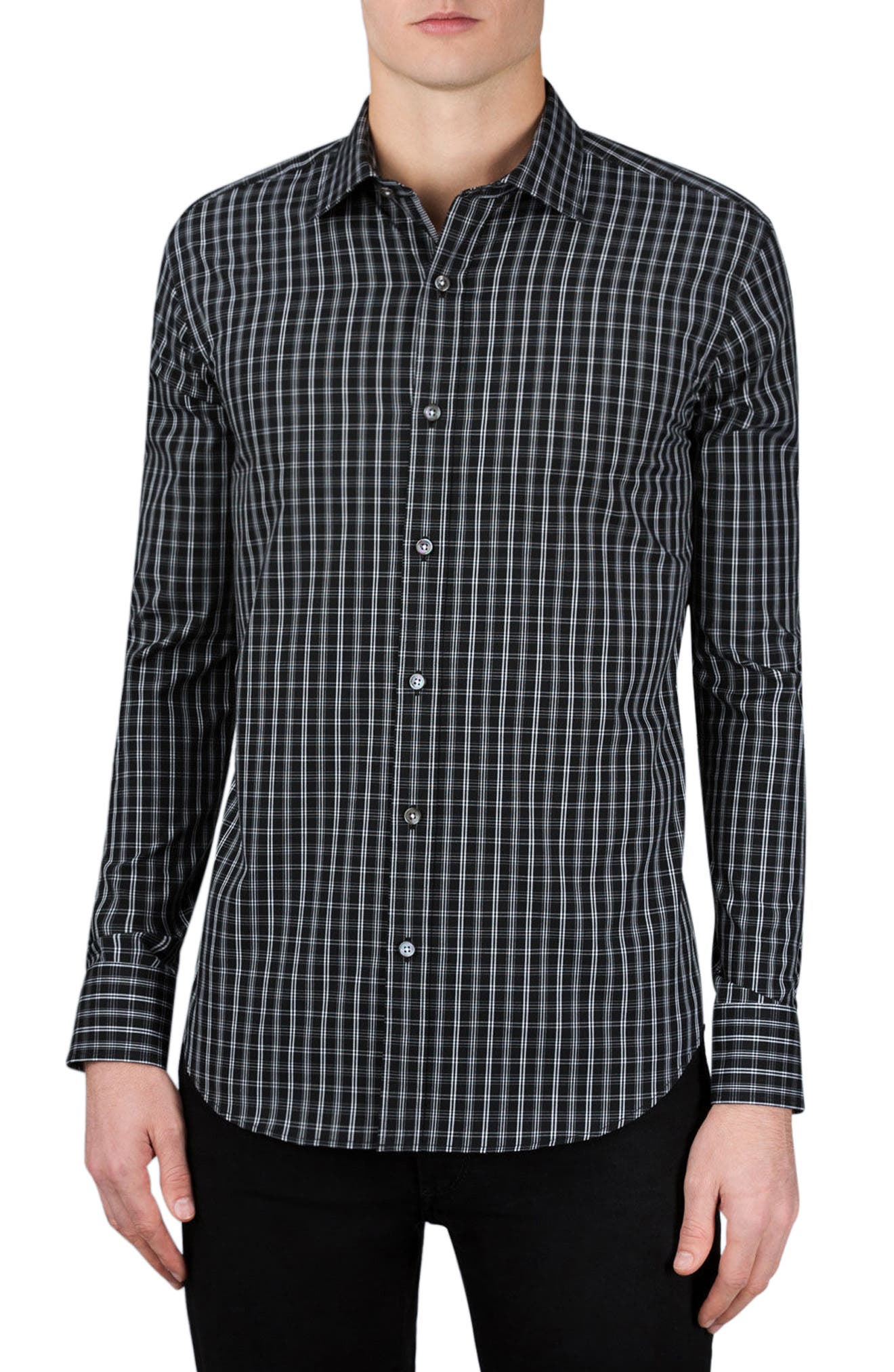Classic Fit Plaid Sport Shirt,                             Main thumbnail 1, color,                             Black