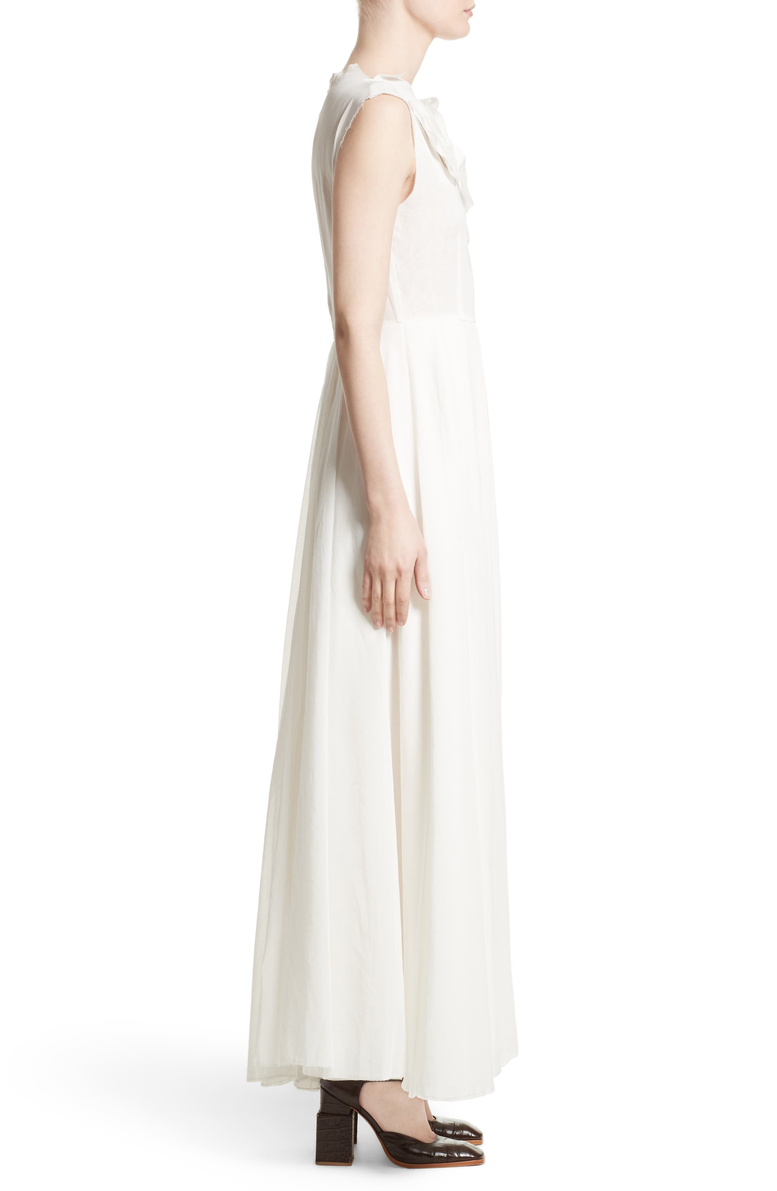 Double Layer Organdy Dress,                             Alternate thumbnail 5, color,                             White