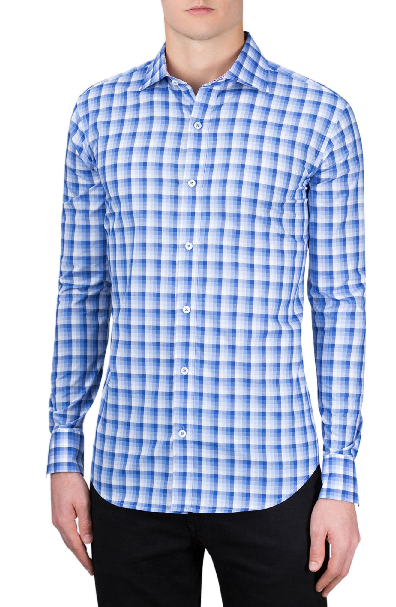 Shaped Fit Check Sport Shirt,                         Main,                         color, Classic Blue