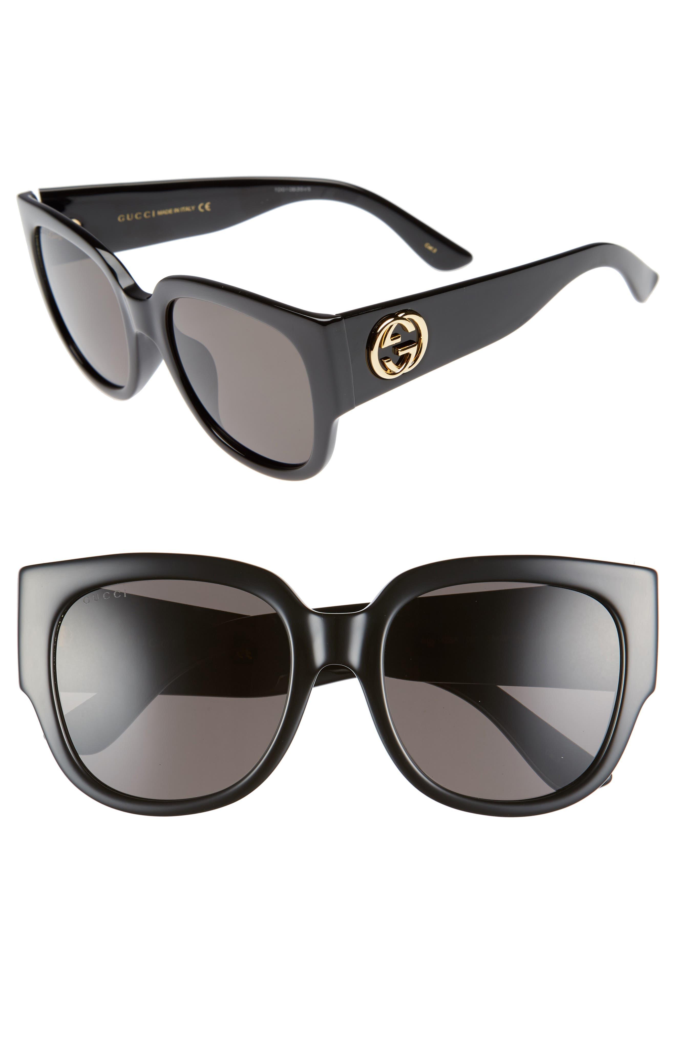 55mm Square Cat Eye Sunglasses,                         Main,                         color, Black/ Grey