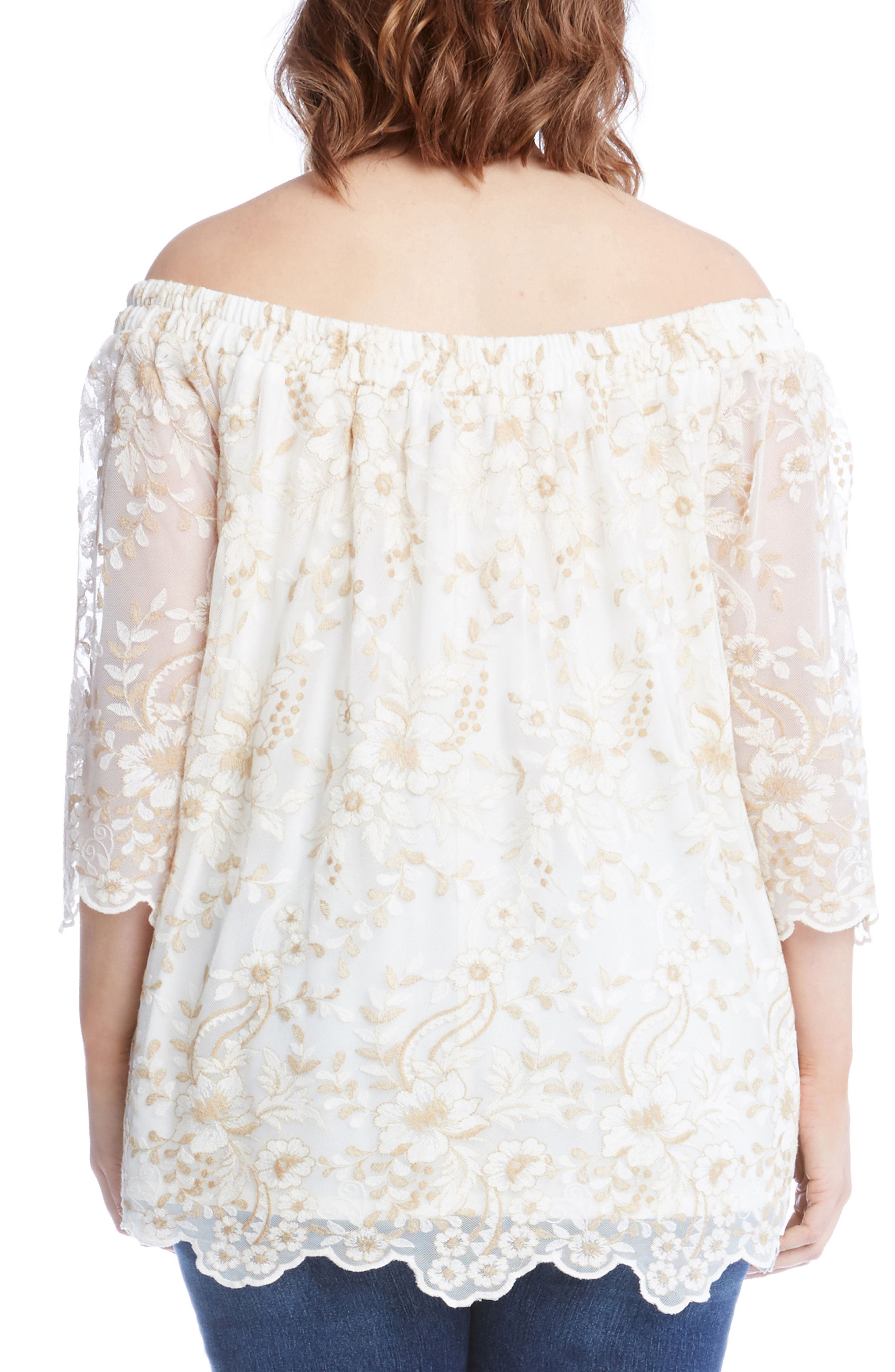 Alternate Image 2  - Karen Kane Embroidered Mesh Off the Shoulder Top (Plus Size)