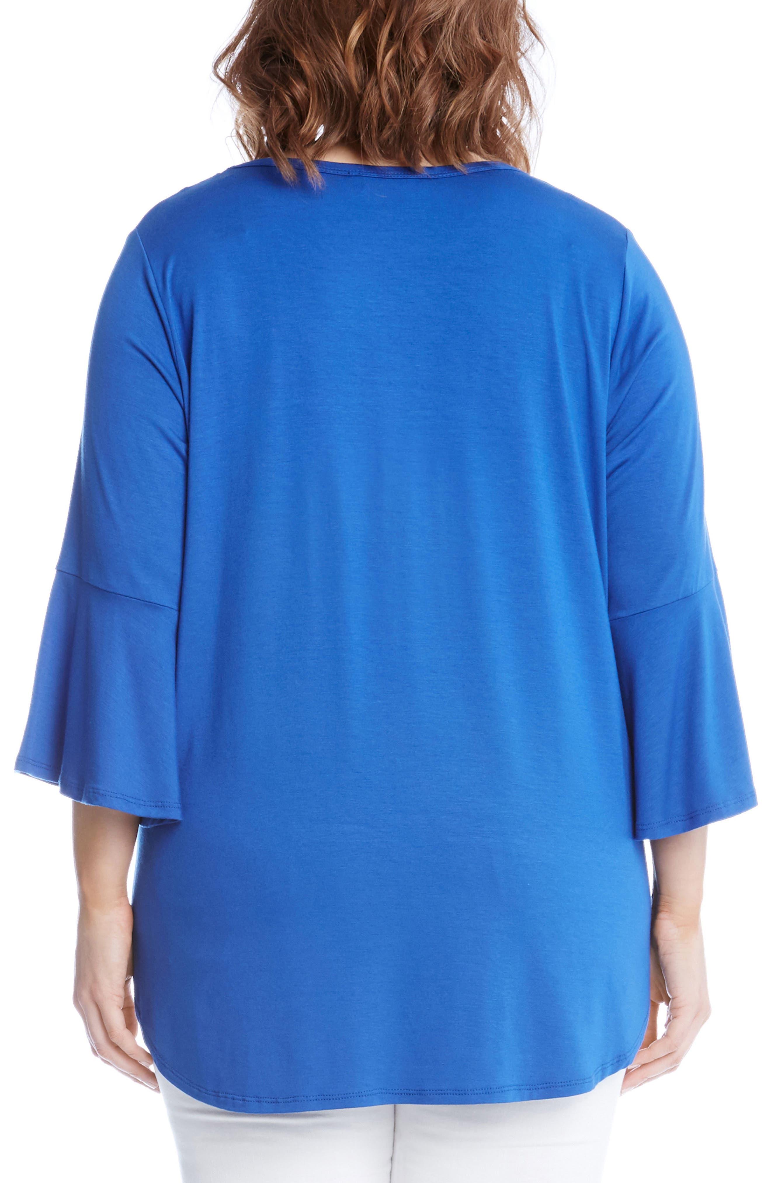 Alternate Image 2  - Karen Kane Bell Sleeve V-Neck Tee (Plus Size)
