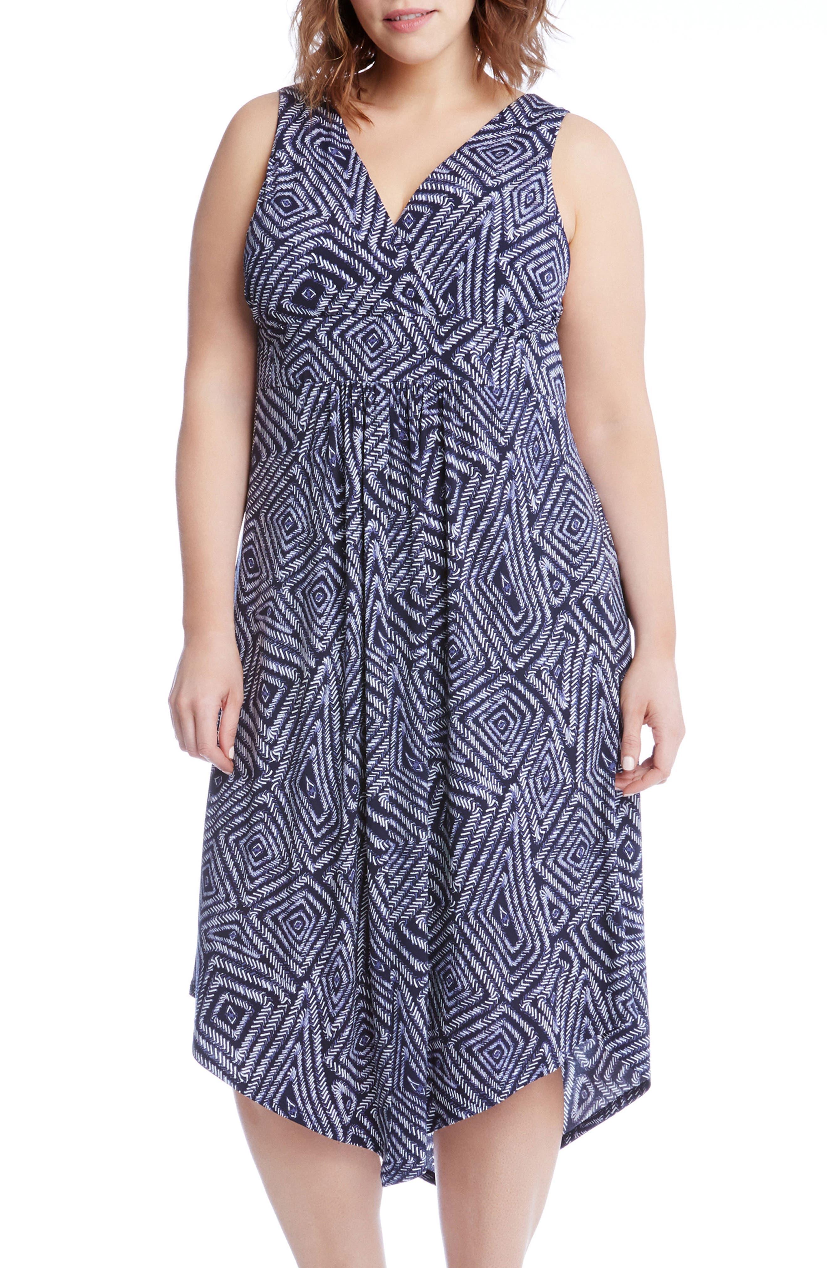 Main Image - Karen Kane Asymmetrical Hem Geo Print Midi Dress (Plus Size)