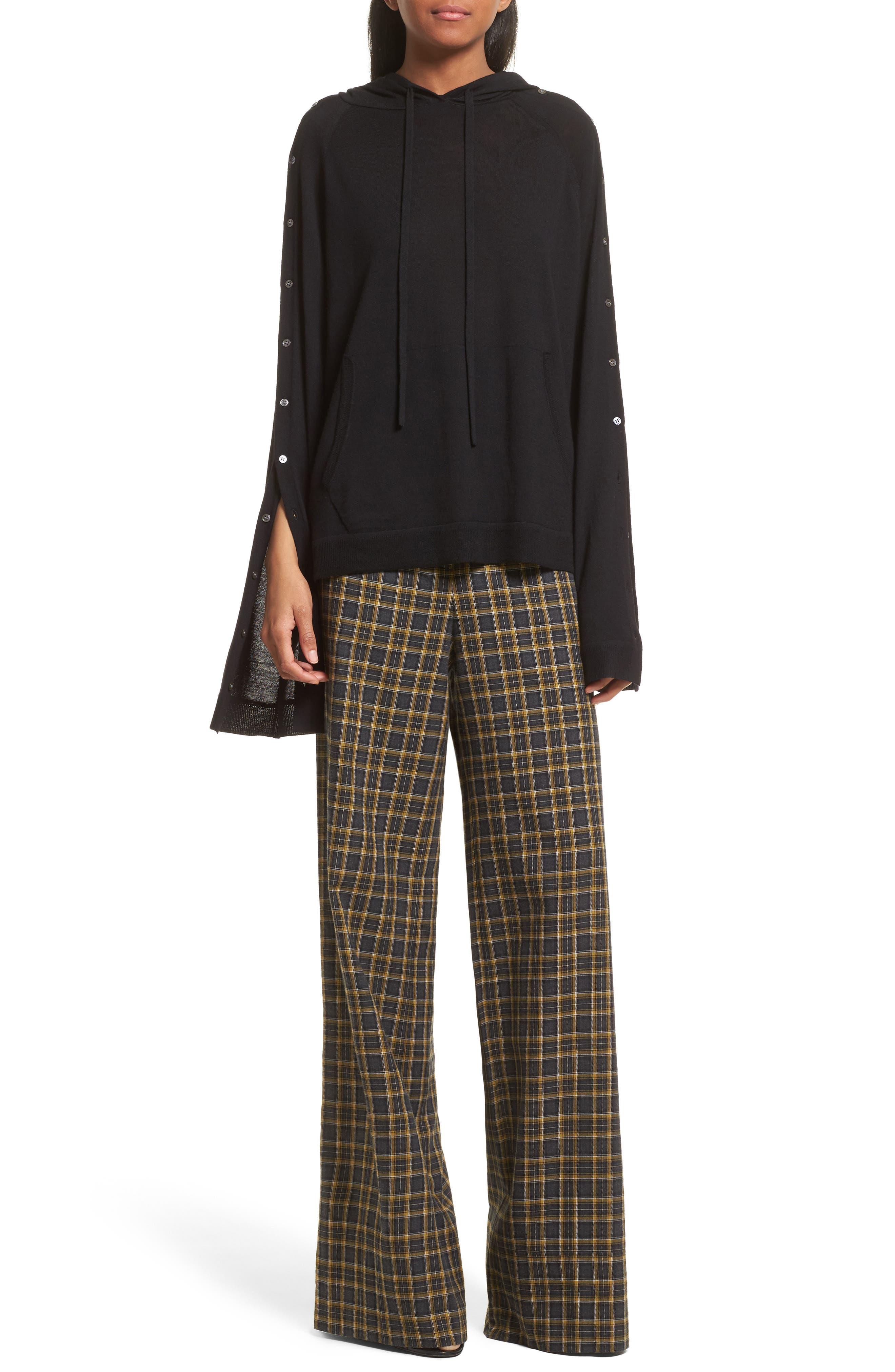 Merino Wool Reversible Hoodie,                             Alternate thumbnail 2, color,                             Black
