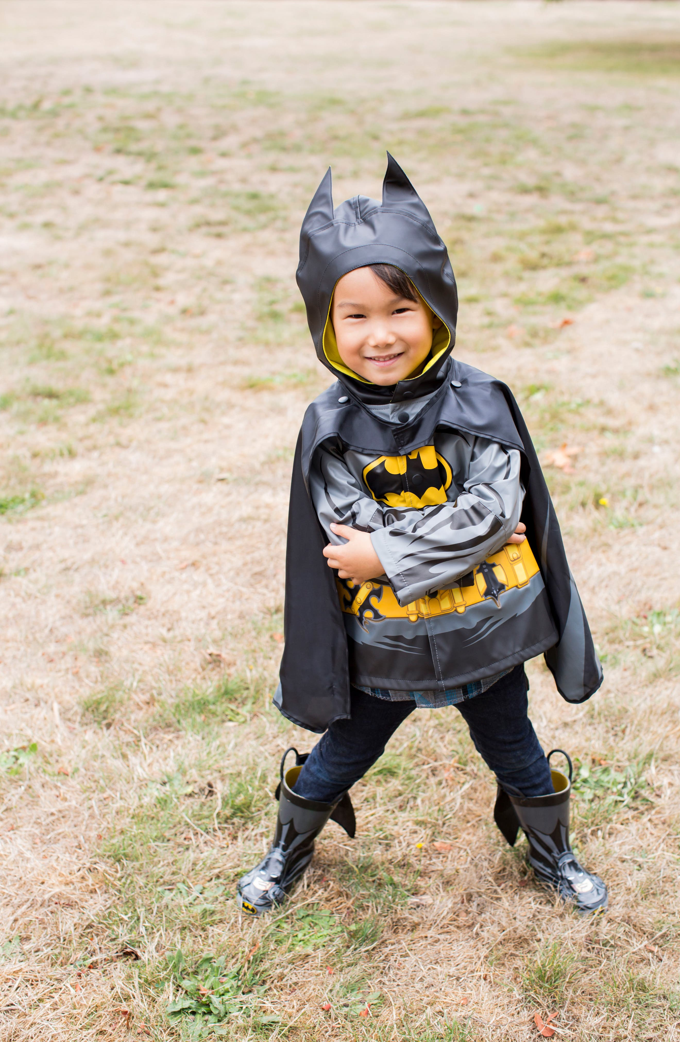 Batman Everlasting Hooded Raincoat,                             Alternate thumbnail 5, color,                             Black