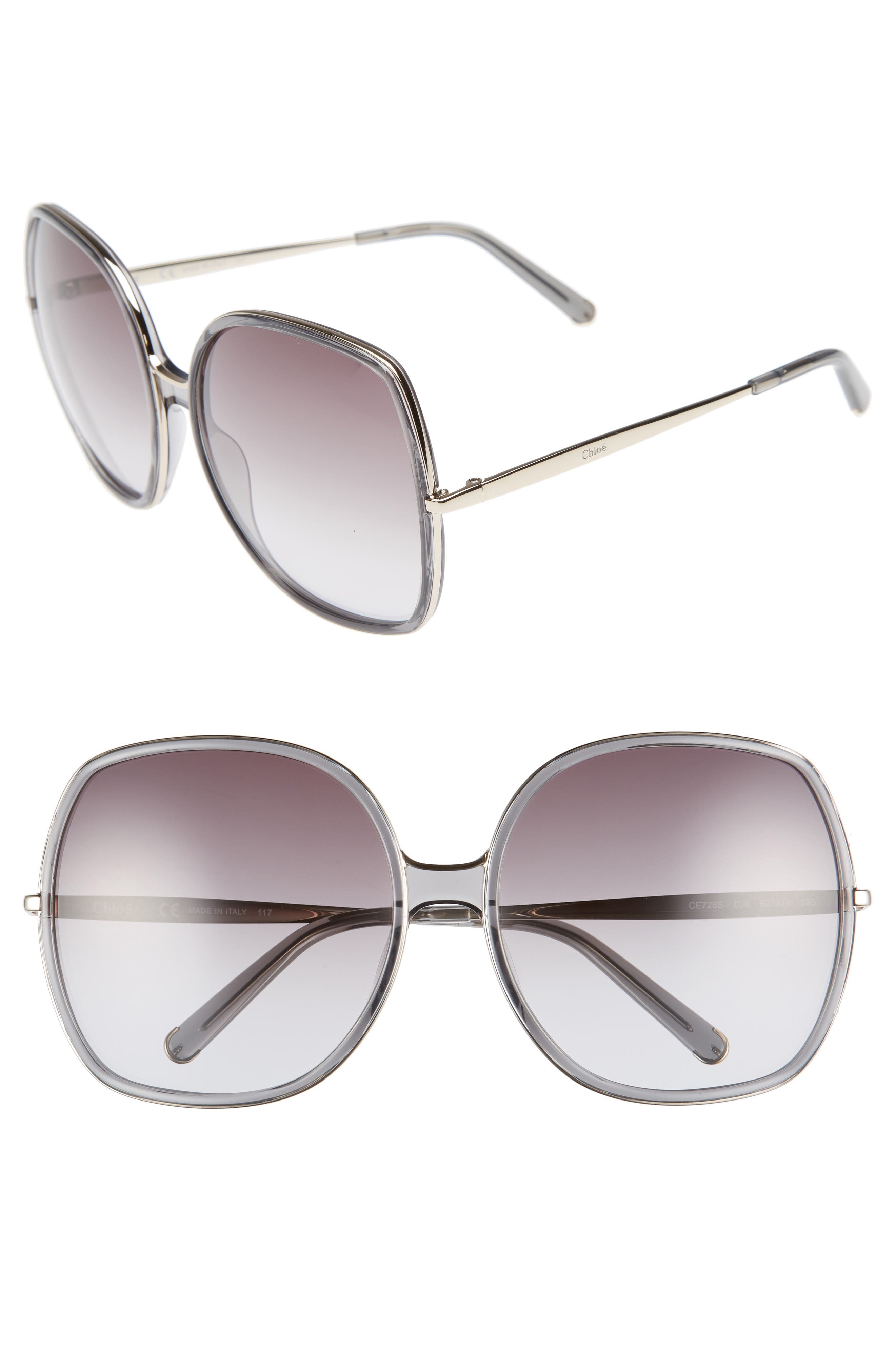 Chloé 62mm Oversized Gradient Lens Square Sunglasses
