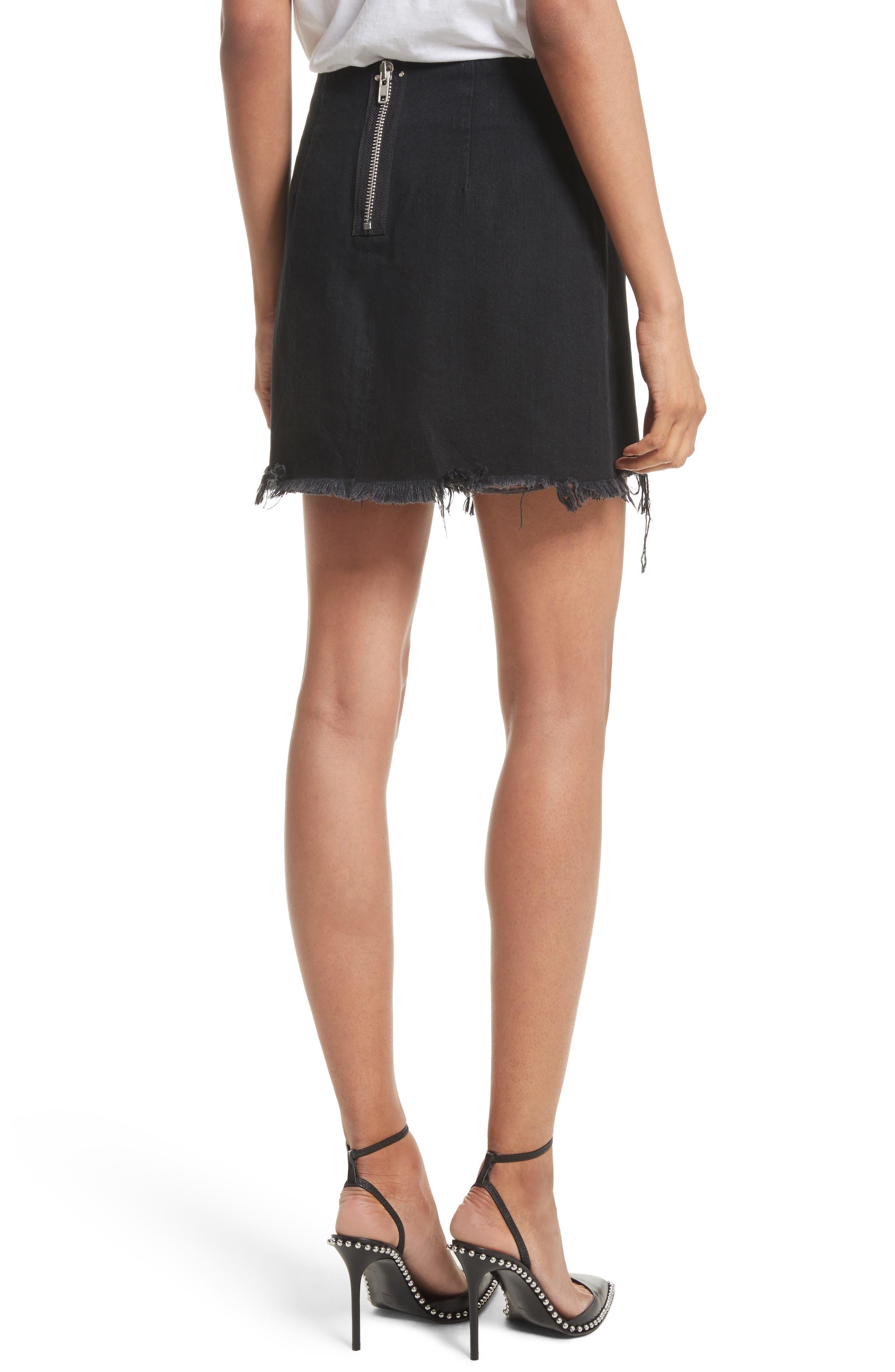 Denim x Alexander Wang Frayed Miniskirt,                             Alternate thumbnail 2, color,                             Black Fade