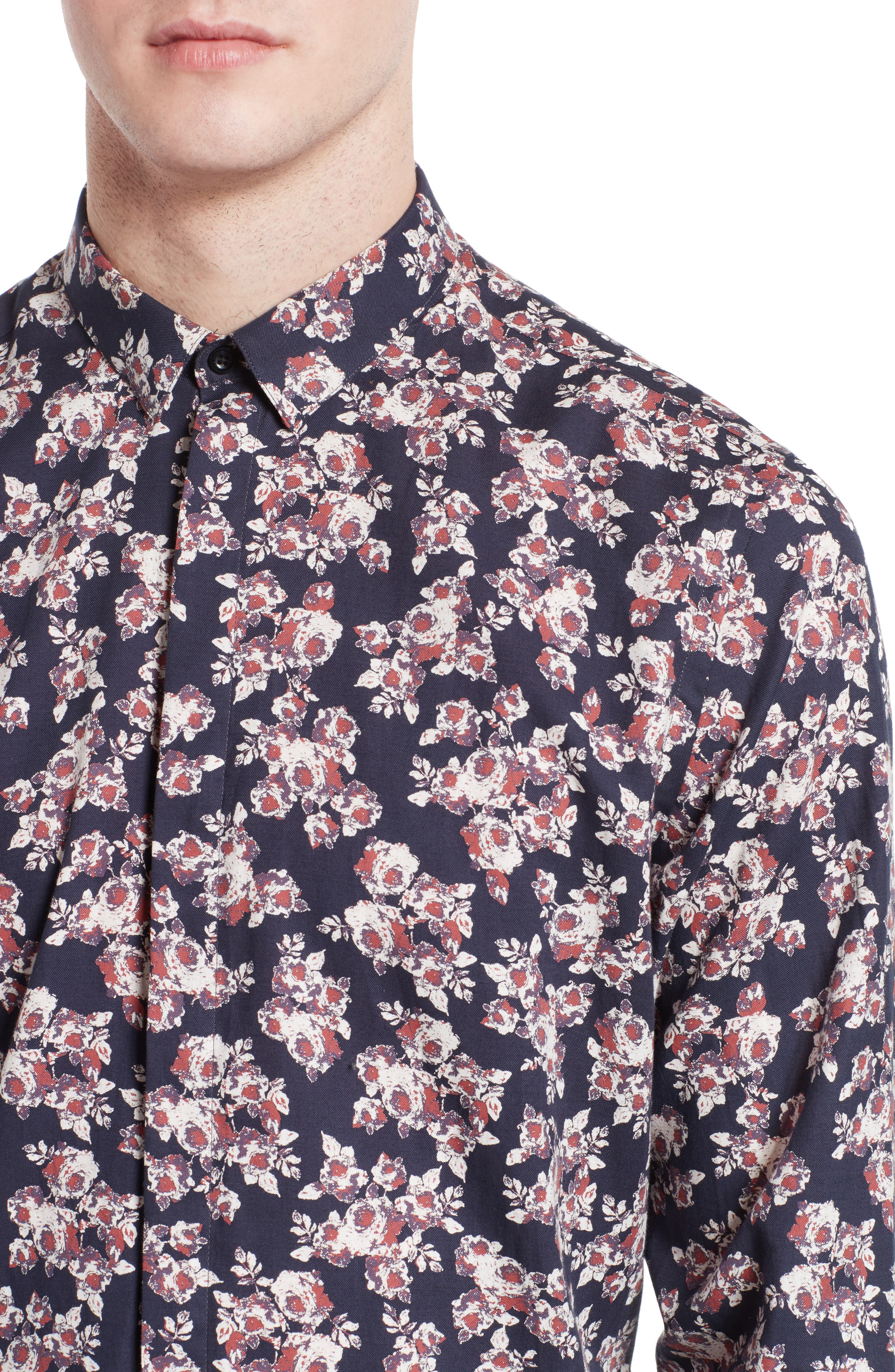 Floral Print Sport Shirt,                             Alternate thumbnail 4, color,                             Navy