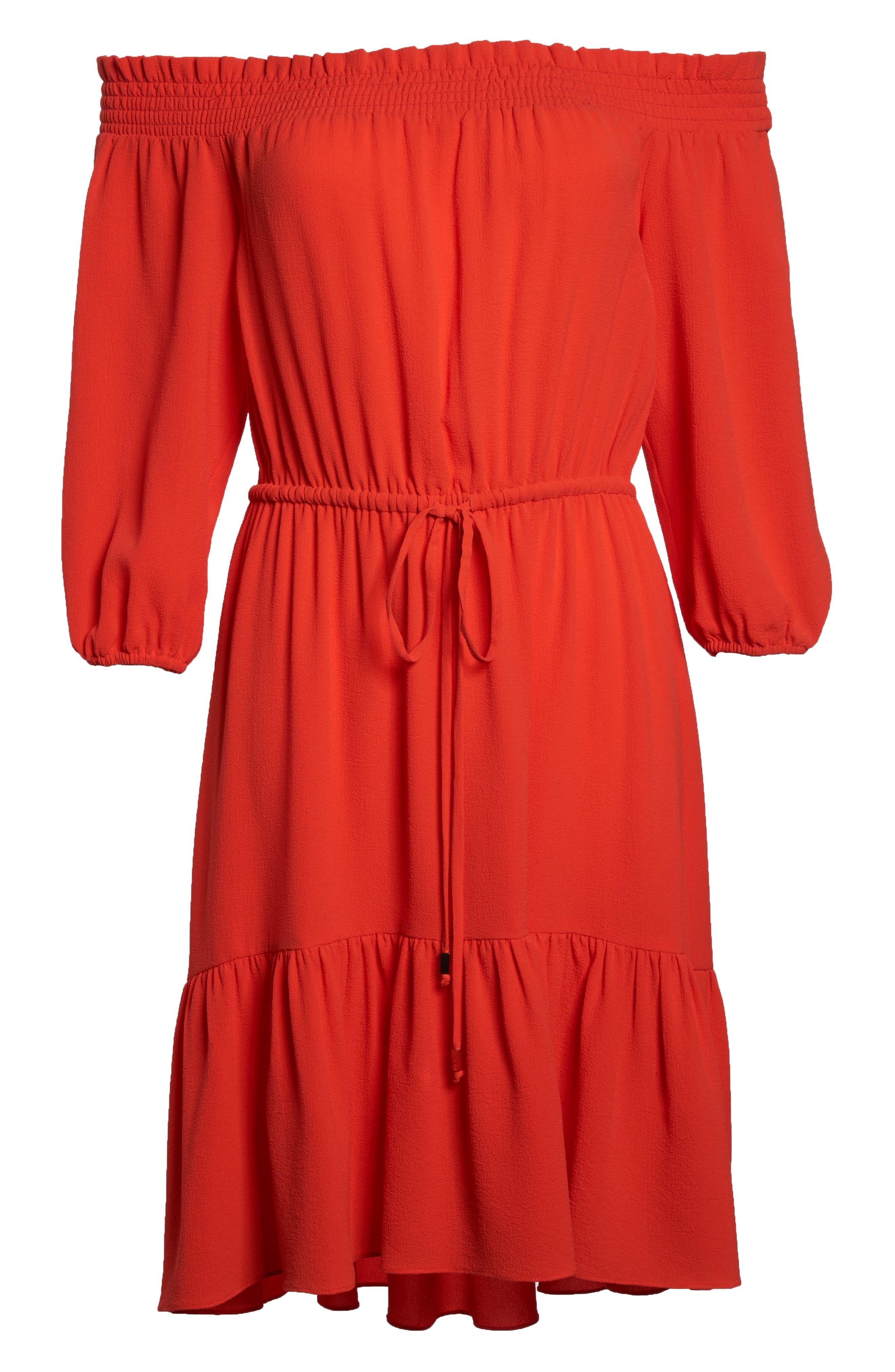 Off the Shoulder Crepe Dress,                             Alternate thumbnail 6, color,                             Poppy