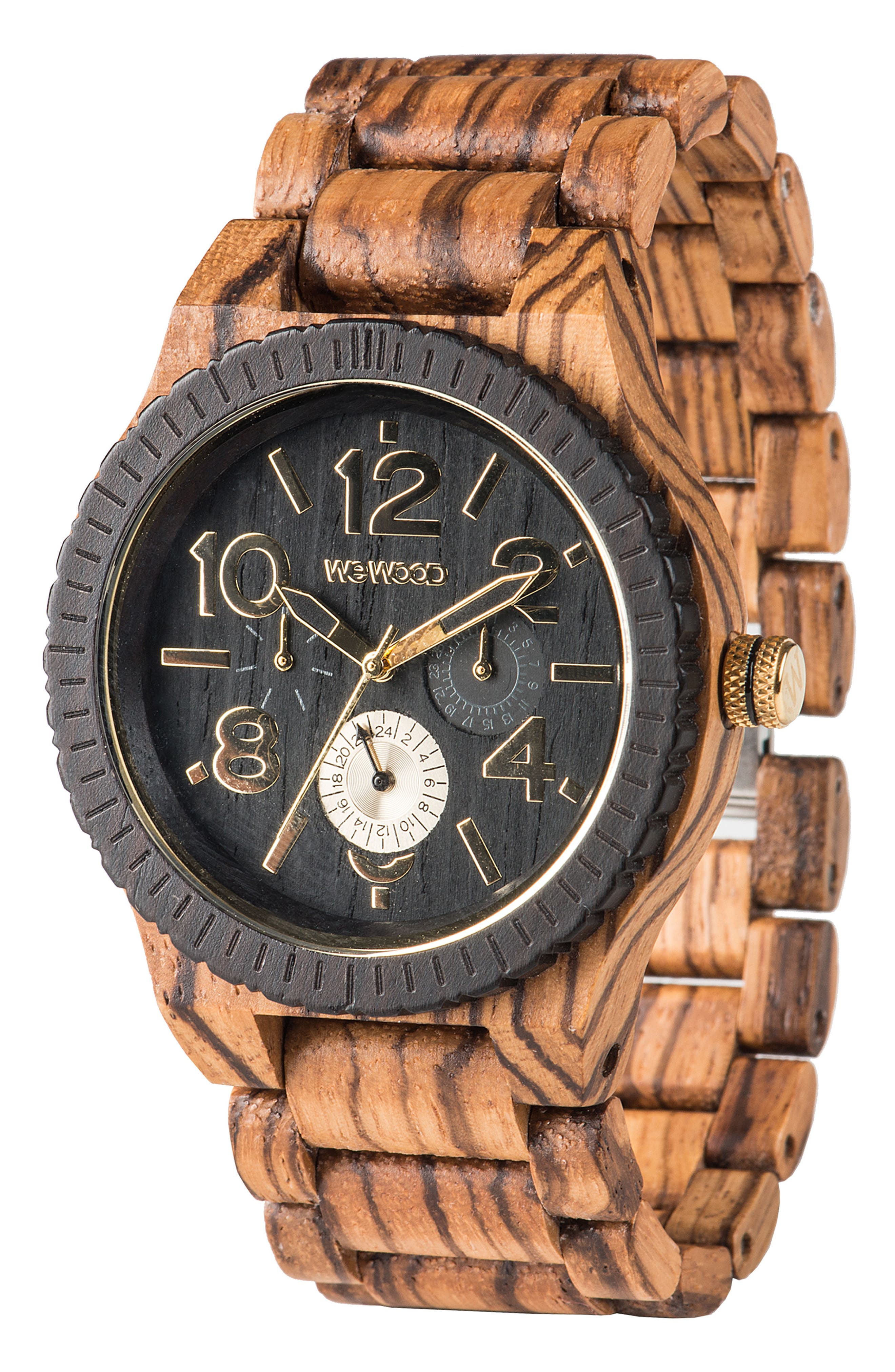 Kardo Multifunctional Wood Bracelet Watch, 46mm,                             Alternate thumbnail 3, color,                             Brown/ Black