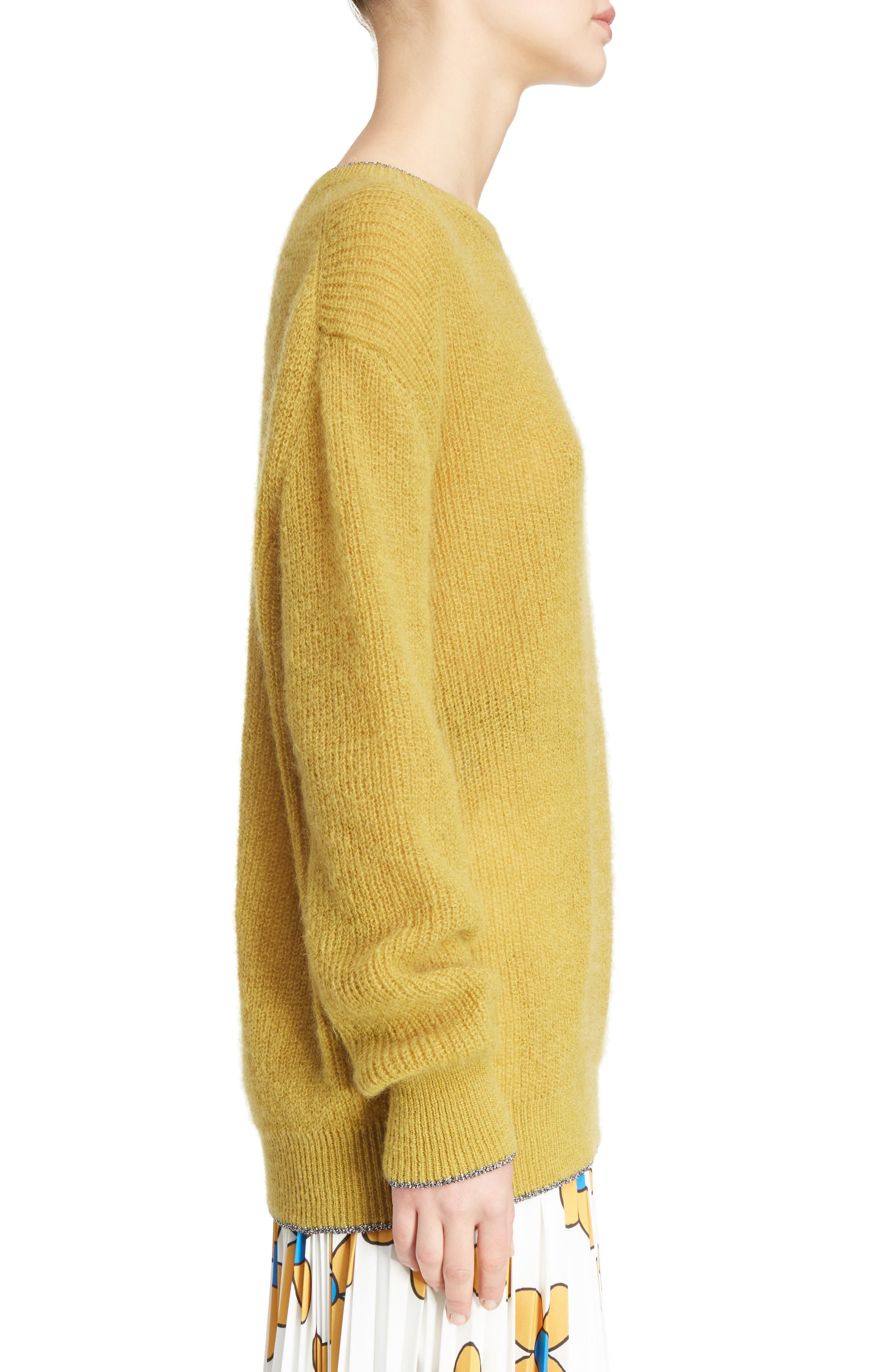 Crewneck Sweater,                             Alternate thumbnail 3, color,                             Honey/Silver