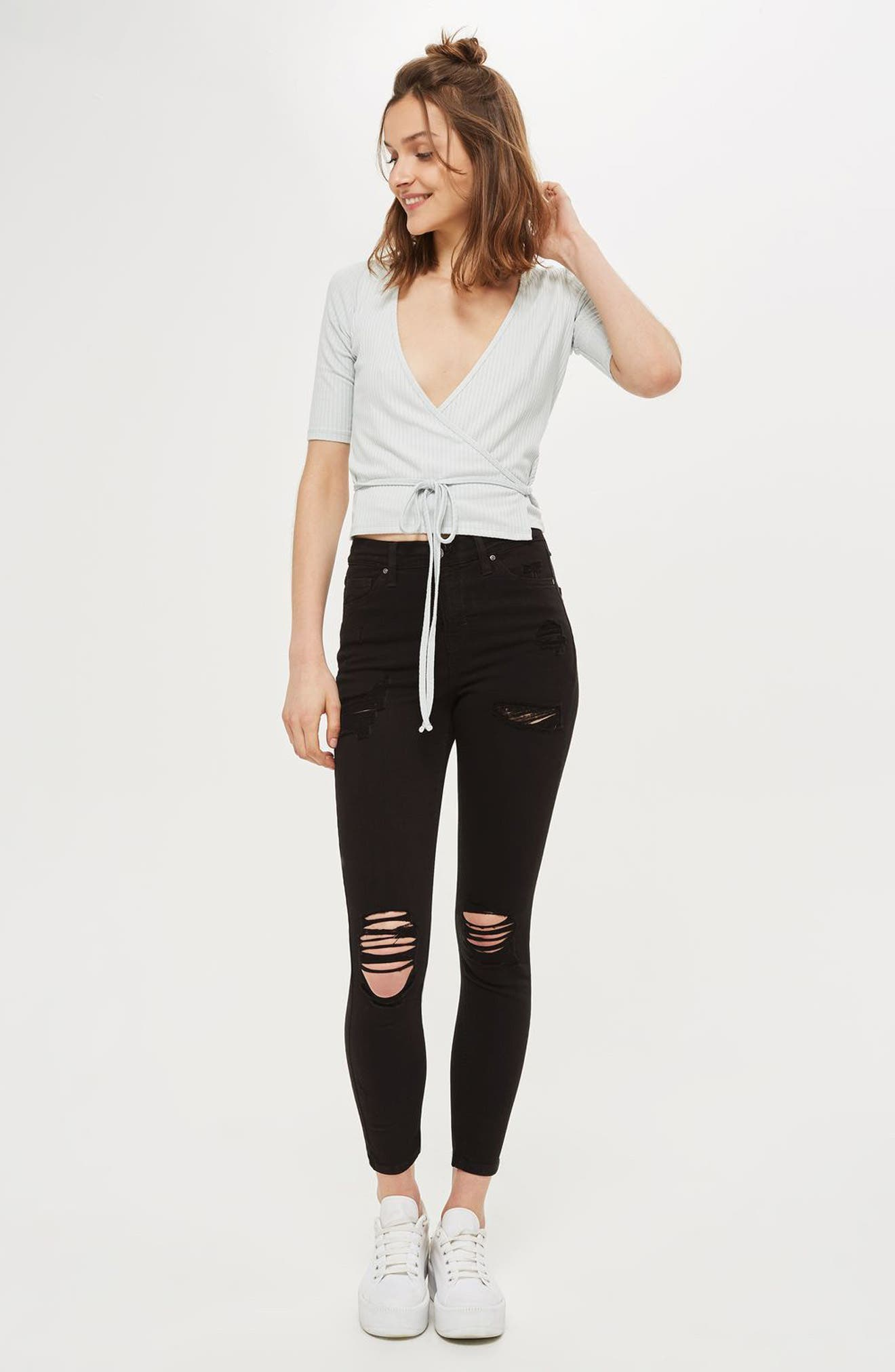 Ripped High Waist Ankle Skinny Jeans,                             Main thumbnail 1, color,                             Black