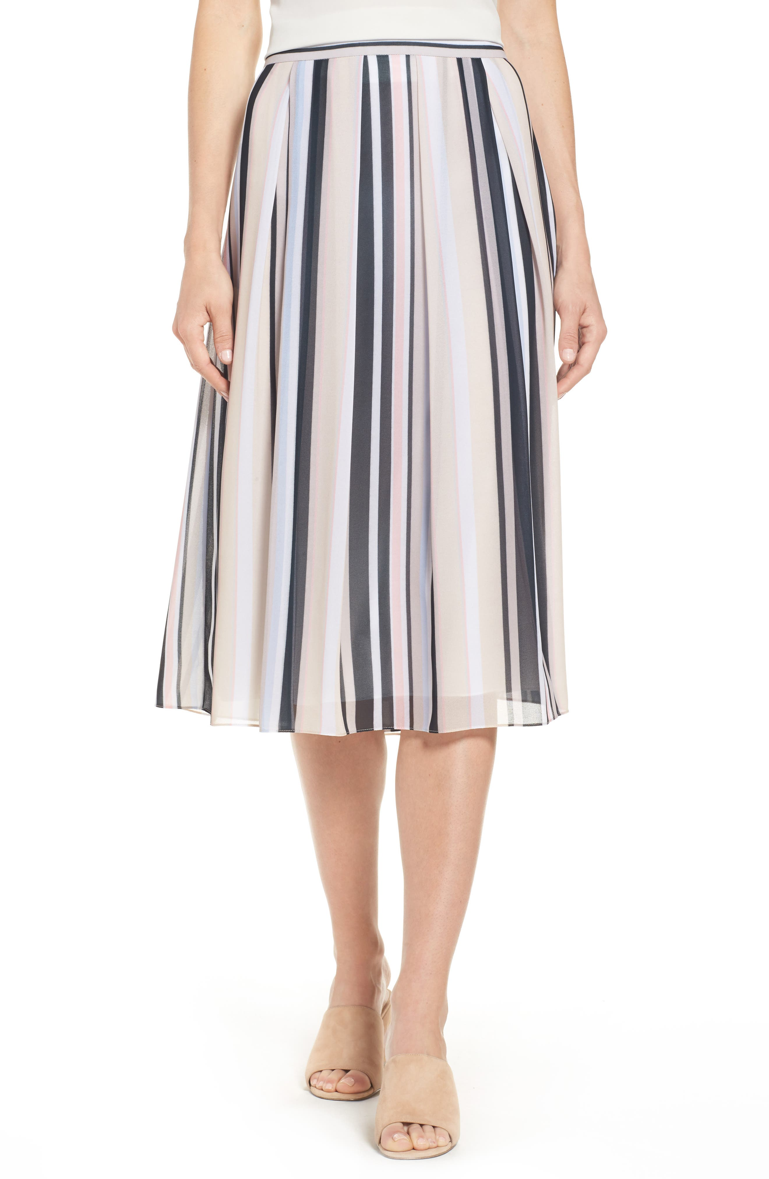 Stripe A-Line Skirt,                             Main thumbnail 1, color,                             Black/ Beach Combo