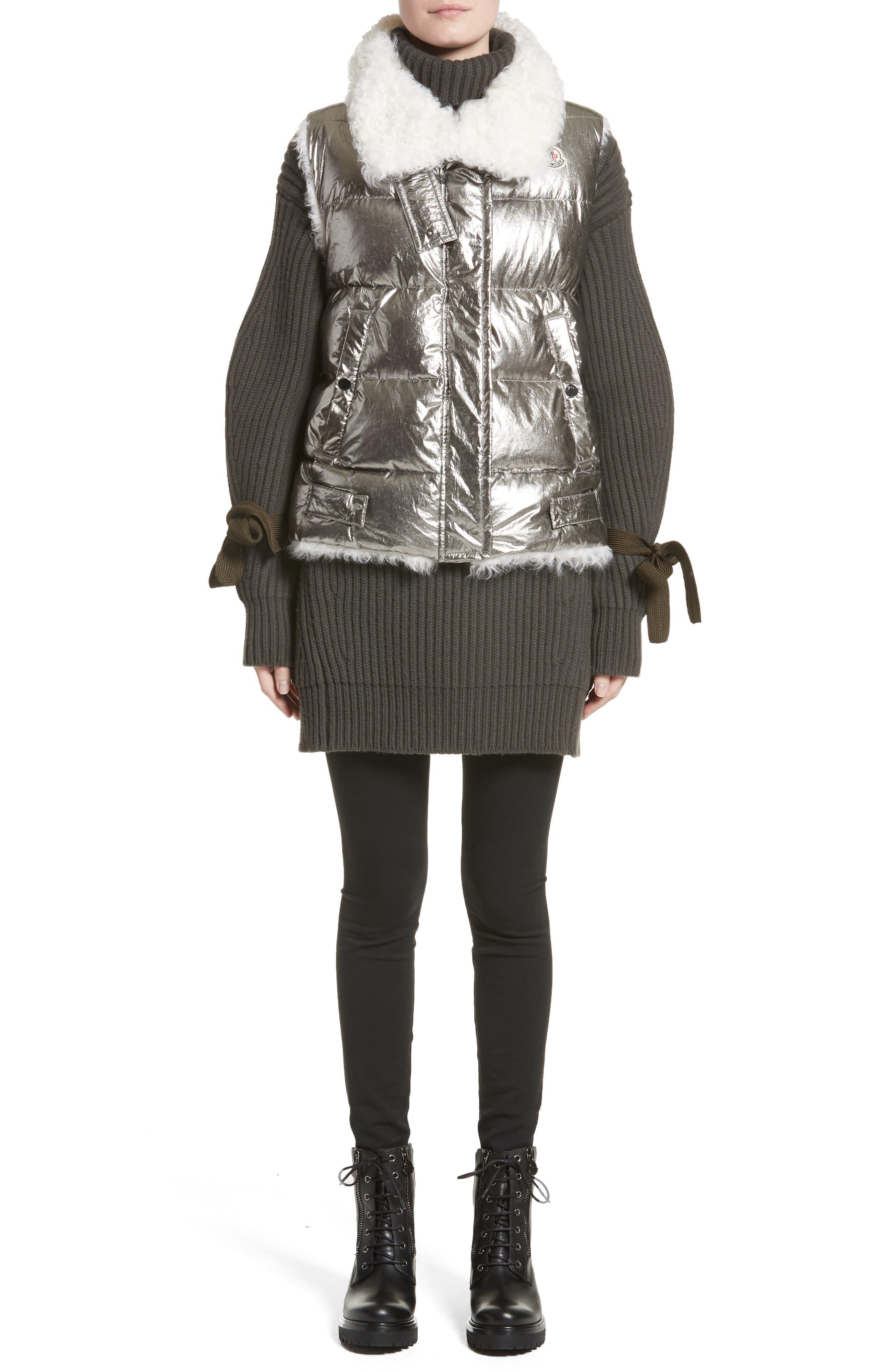 Kerria Metallic Down Vest with Genuine Shearling Trim,                             Alternate thumbnail 7, color,                             Silver