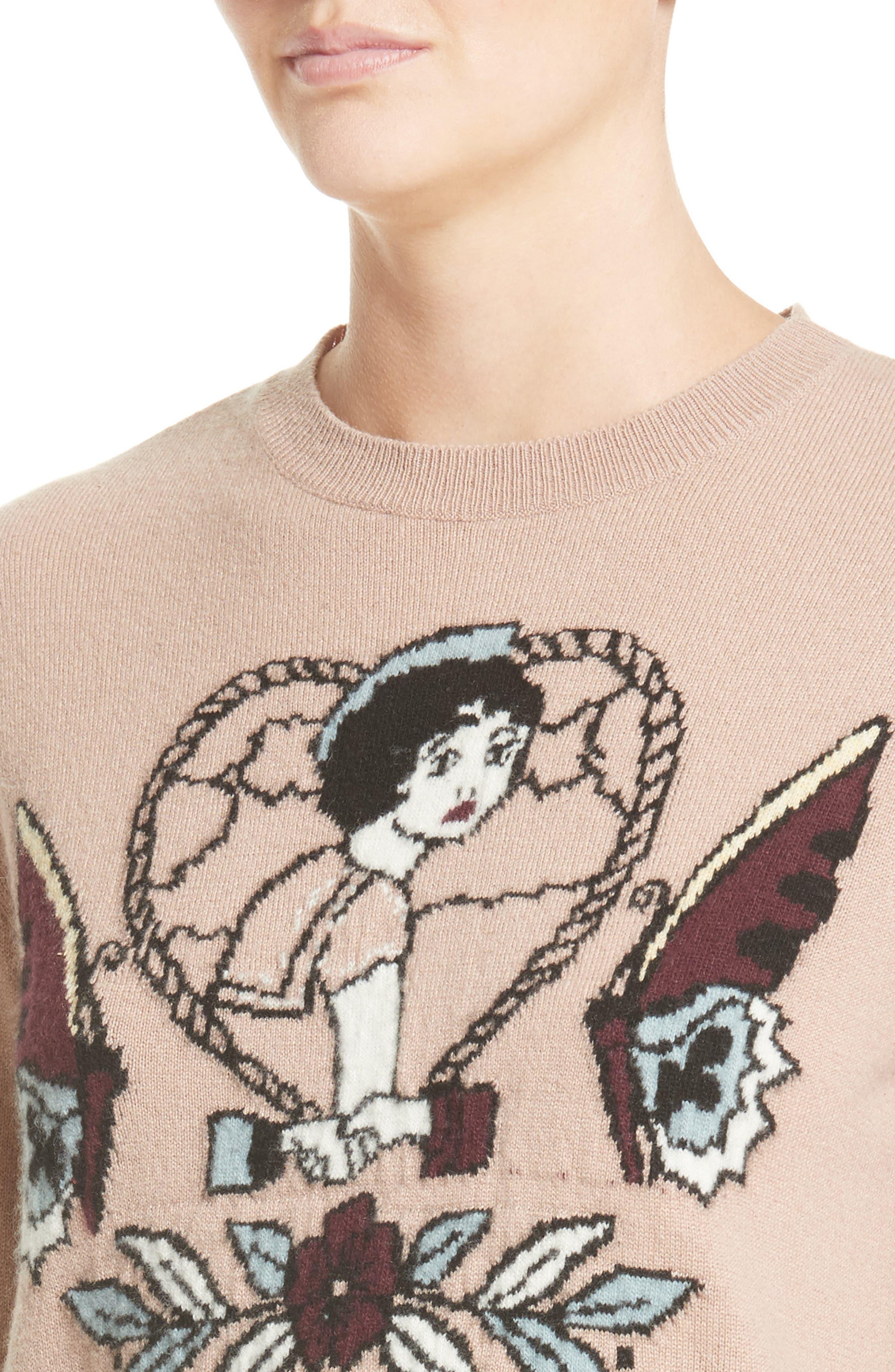 Tattoo Intarsia Wool & Cashmere Sweater,                             Alternate thumbnail 6, color,                             Nude