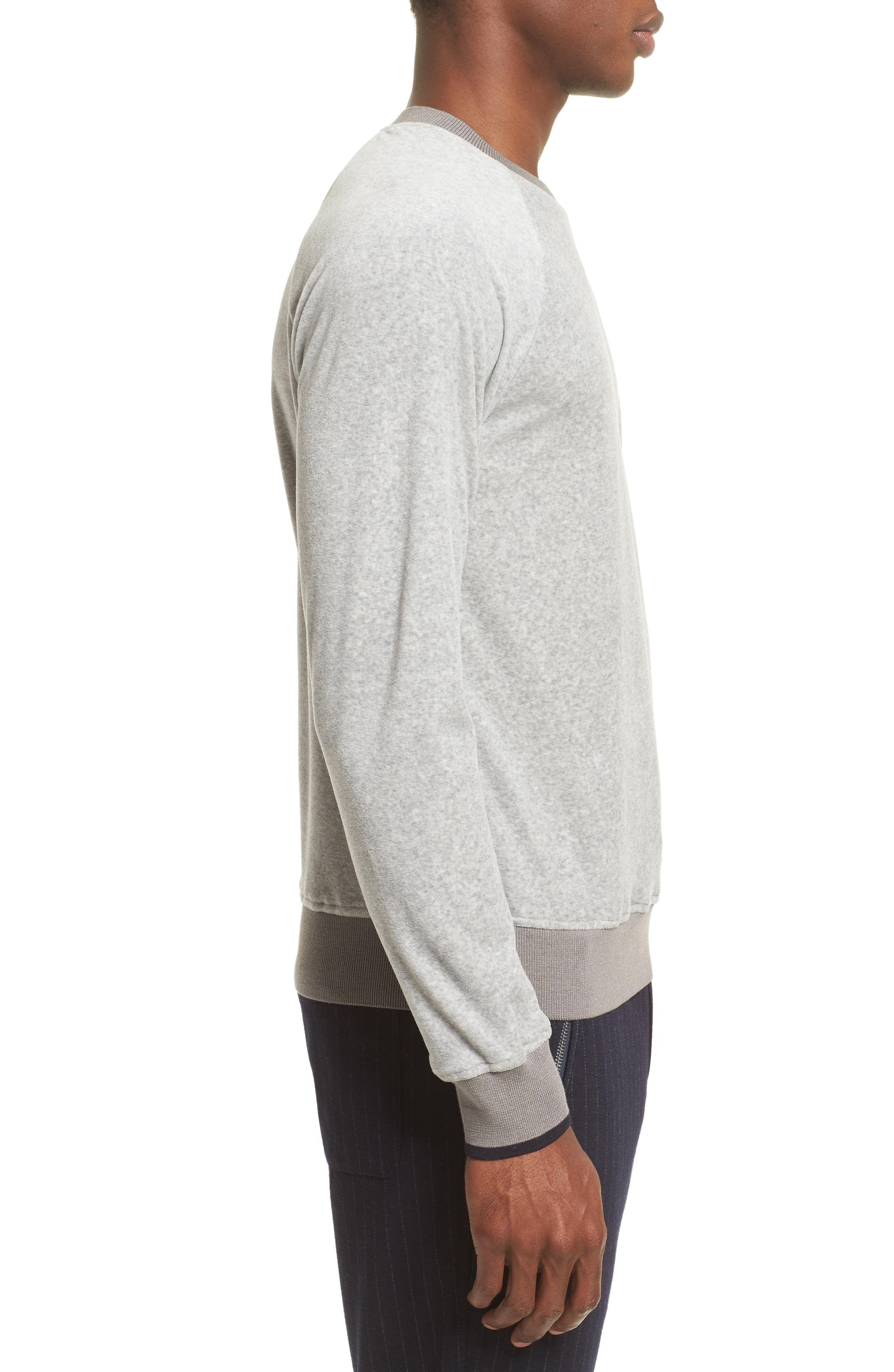 Velour Sweatshirt,                             Alternate thumbnail 3, color,                             Light Grey