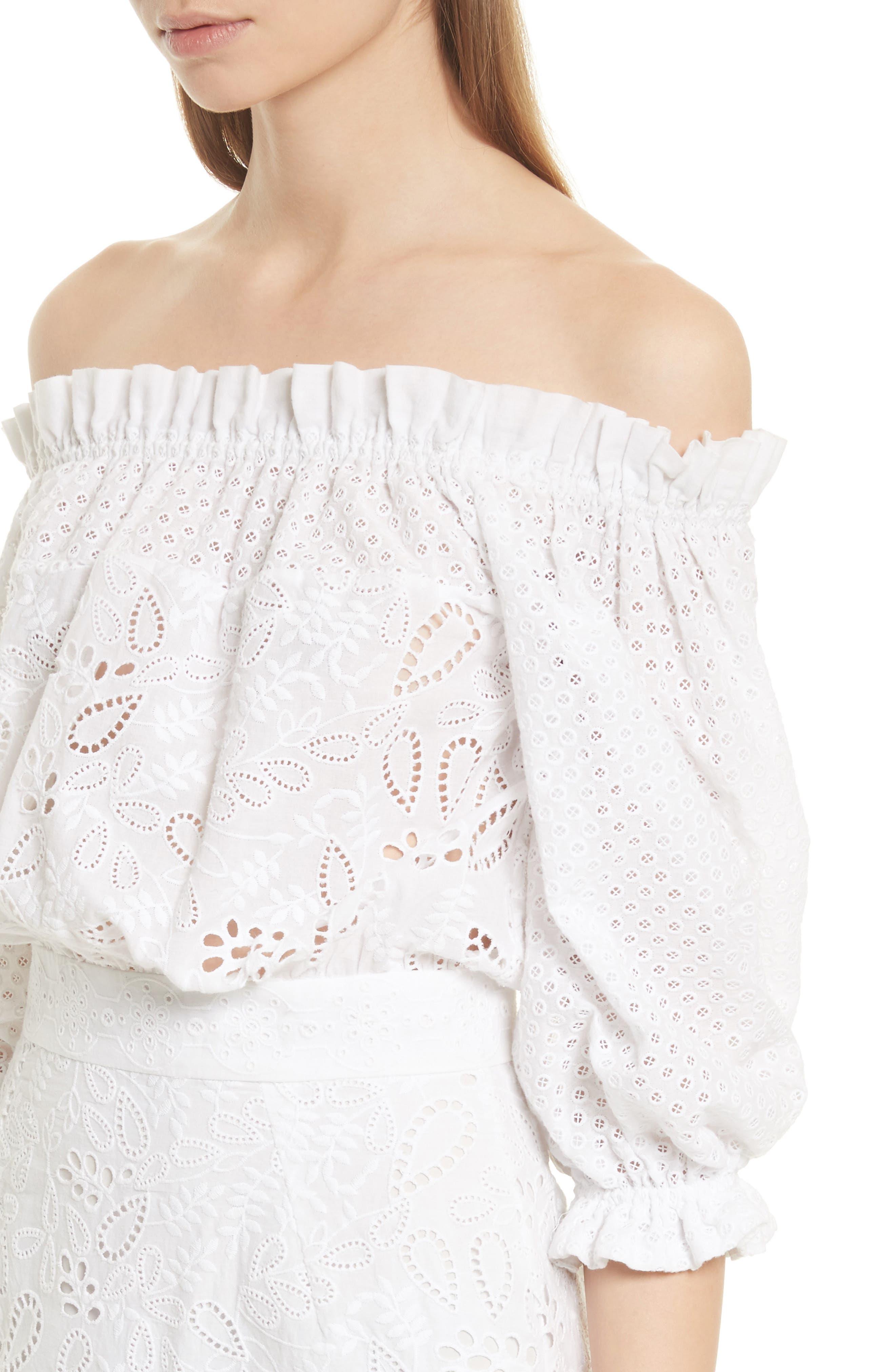 Grace Cotton Off the Shoulder Dress,                             Alternate thumbnail 4, color,                             White/ French Lace