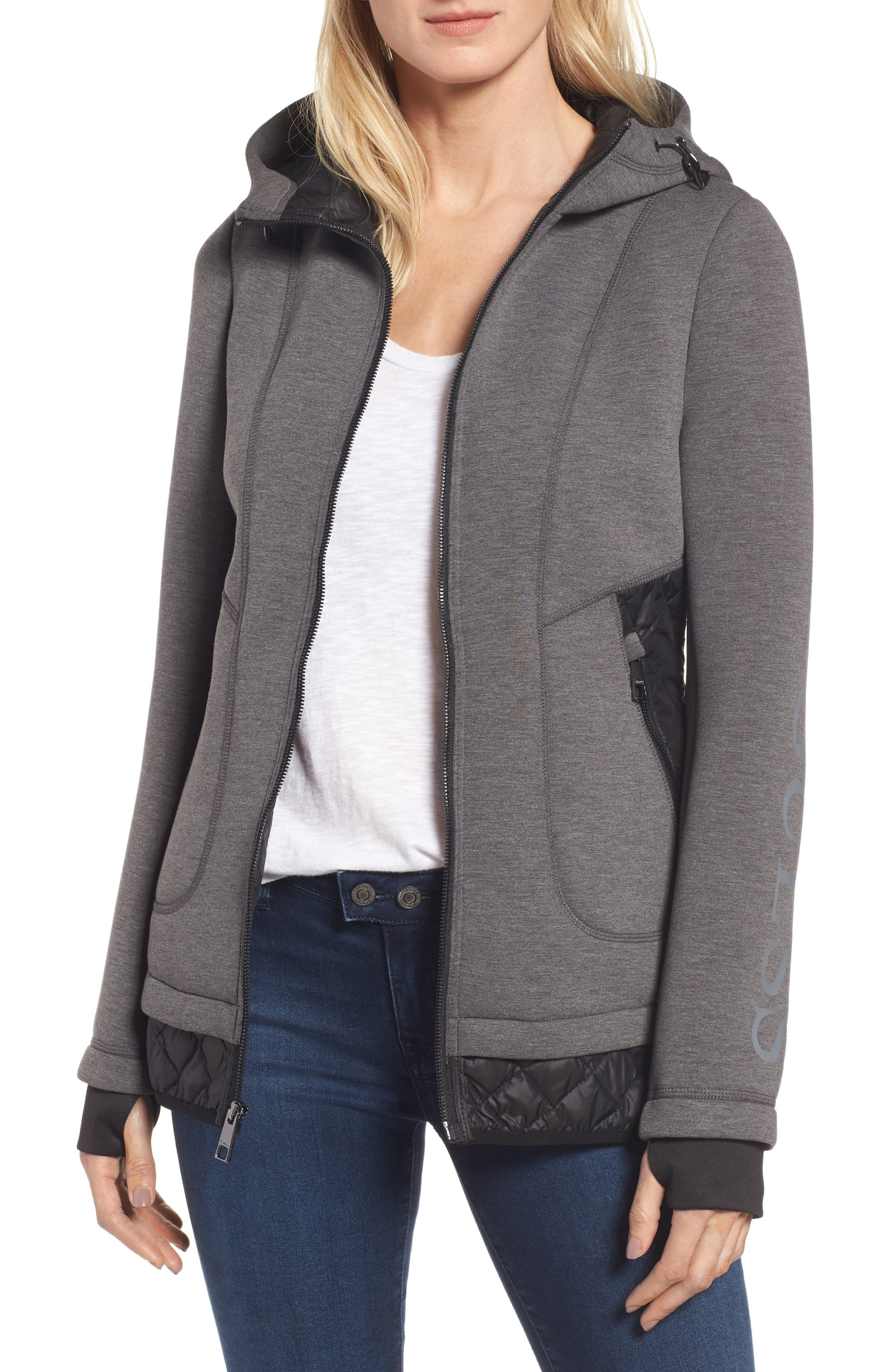 GUESS Mixed Media Hooded Jacket