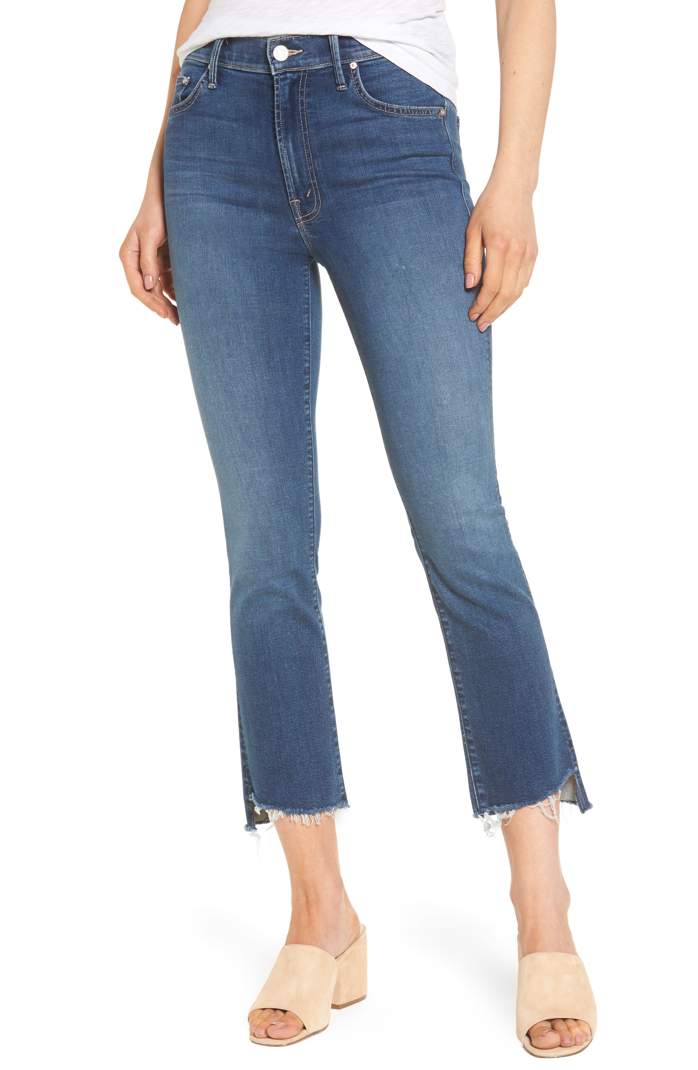 MOTHER The Insider High Waist Step Hem Crop Bootcut Jeans (Not So Fast)