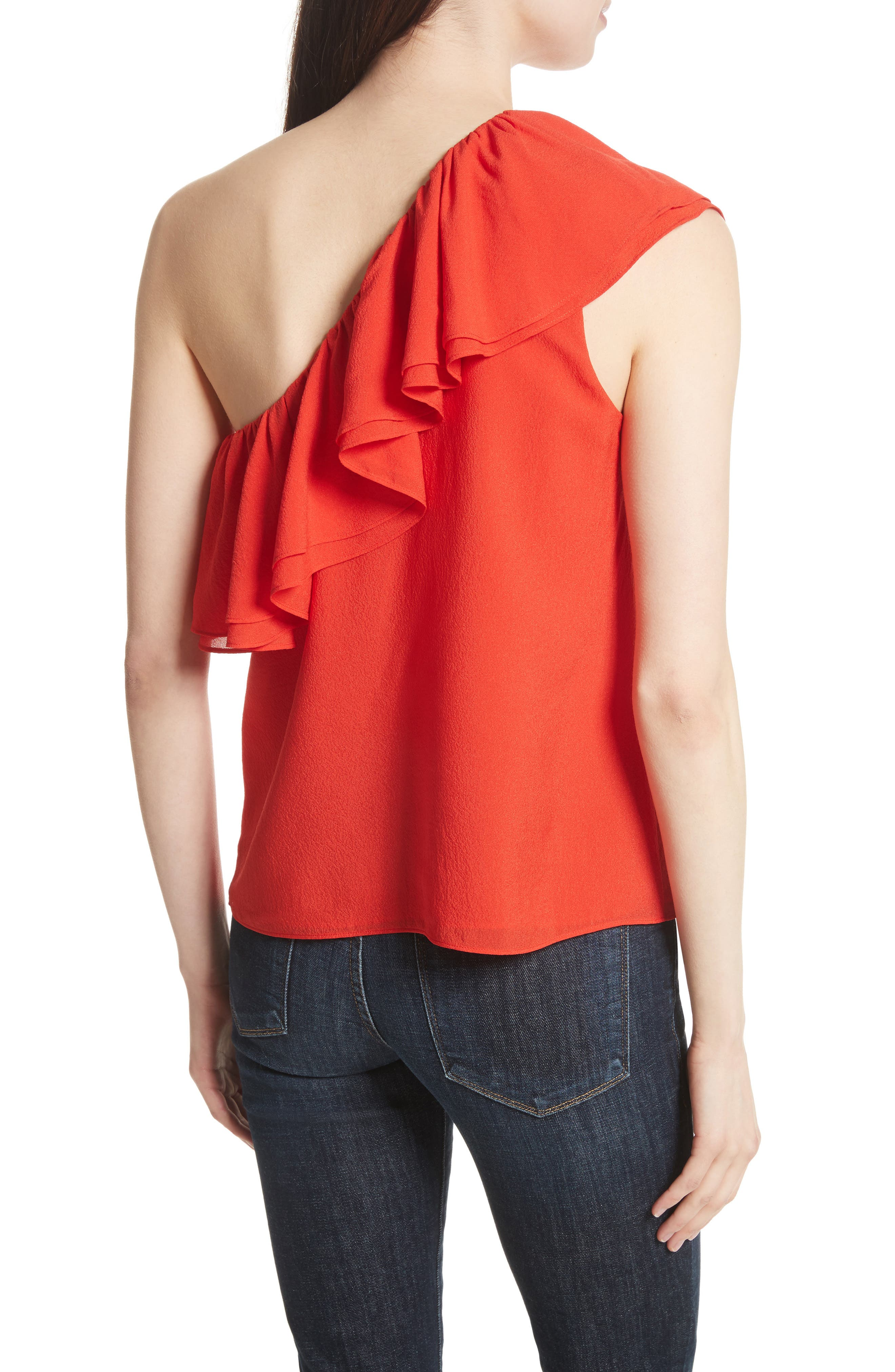 One-Shoulder Silk Top,                             Alternate thumbnail 2, color,                             Candy Apple