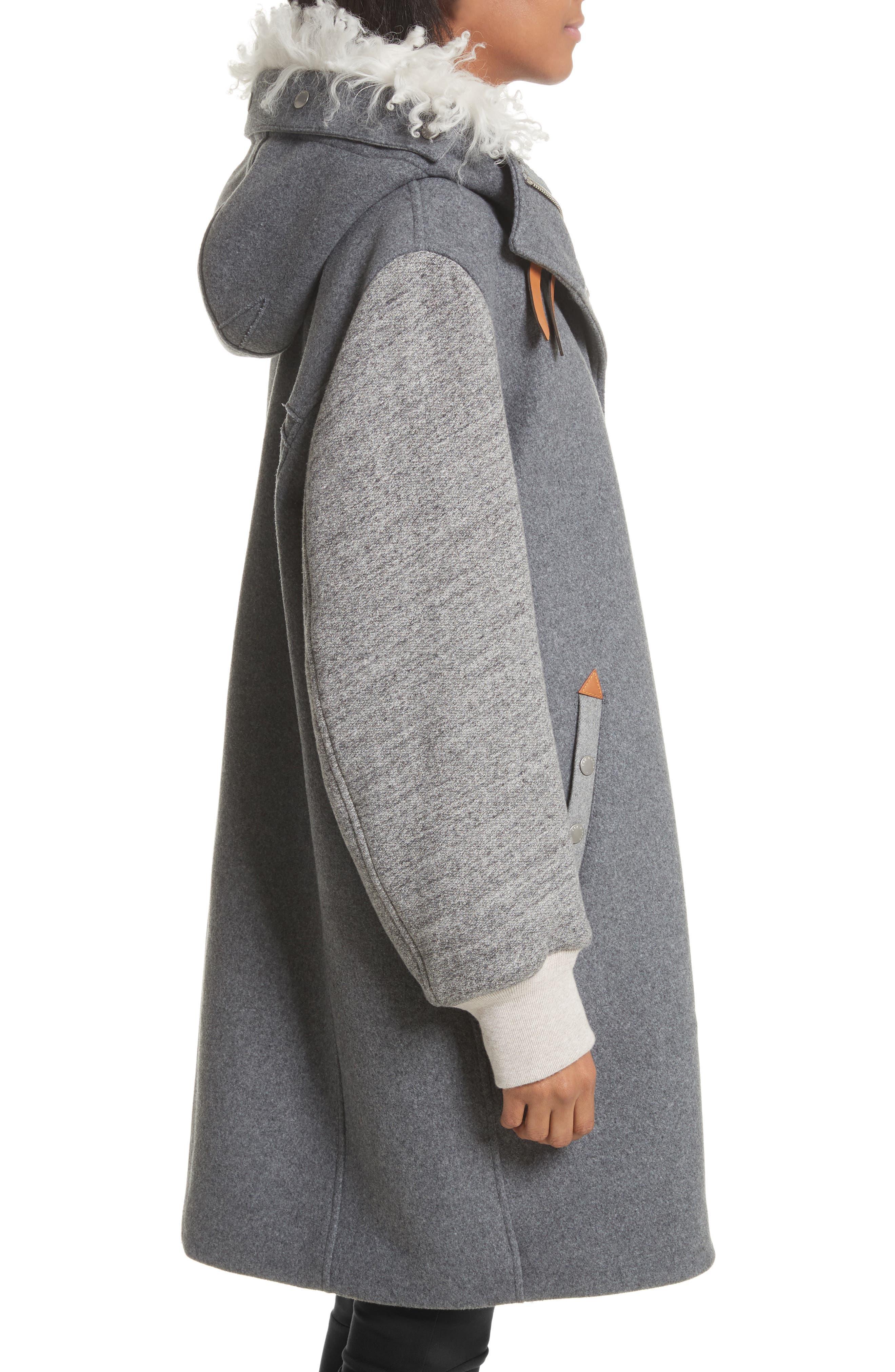 Laporta Genuine Shearling Trim Wool Blend Hooded Coat,                             Alternate thumbnail 4, color,                             Dark Grey