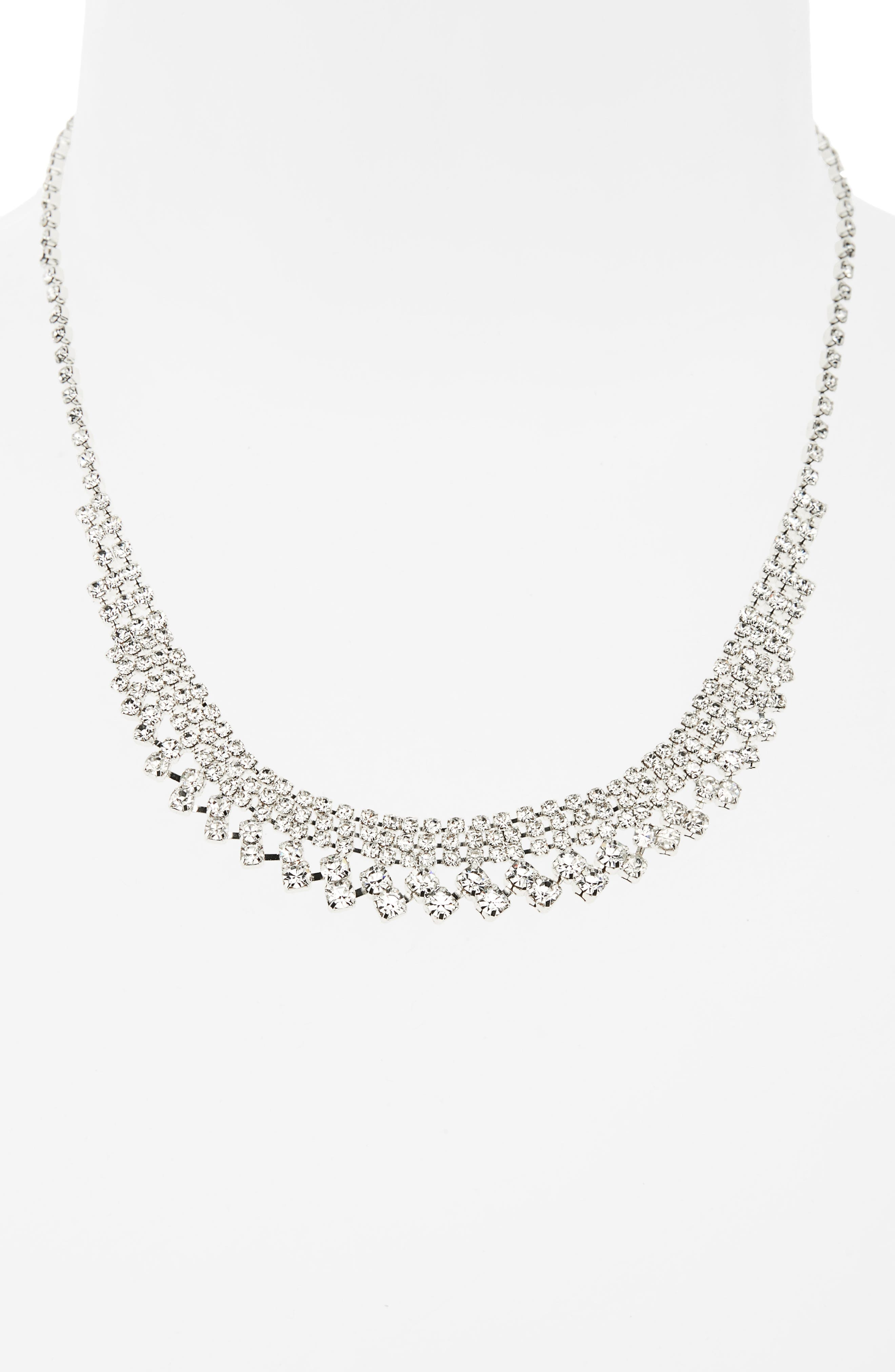 Crystal Frontal Necklace,                             Alternate thumbnail 2, color,                             Silver
