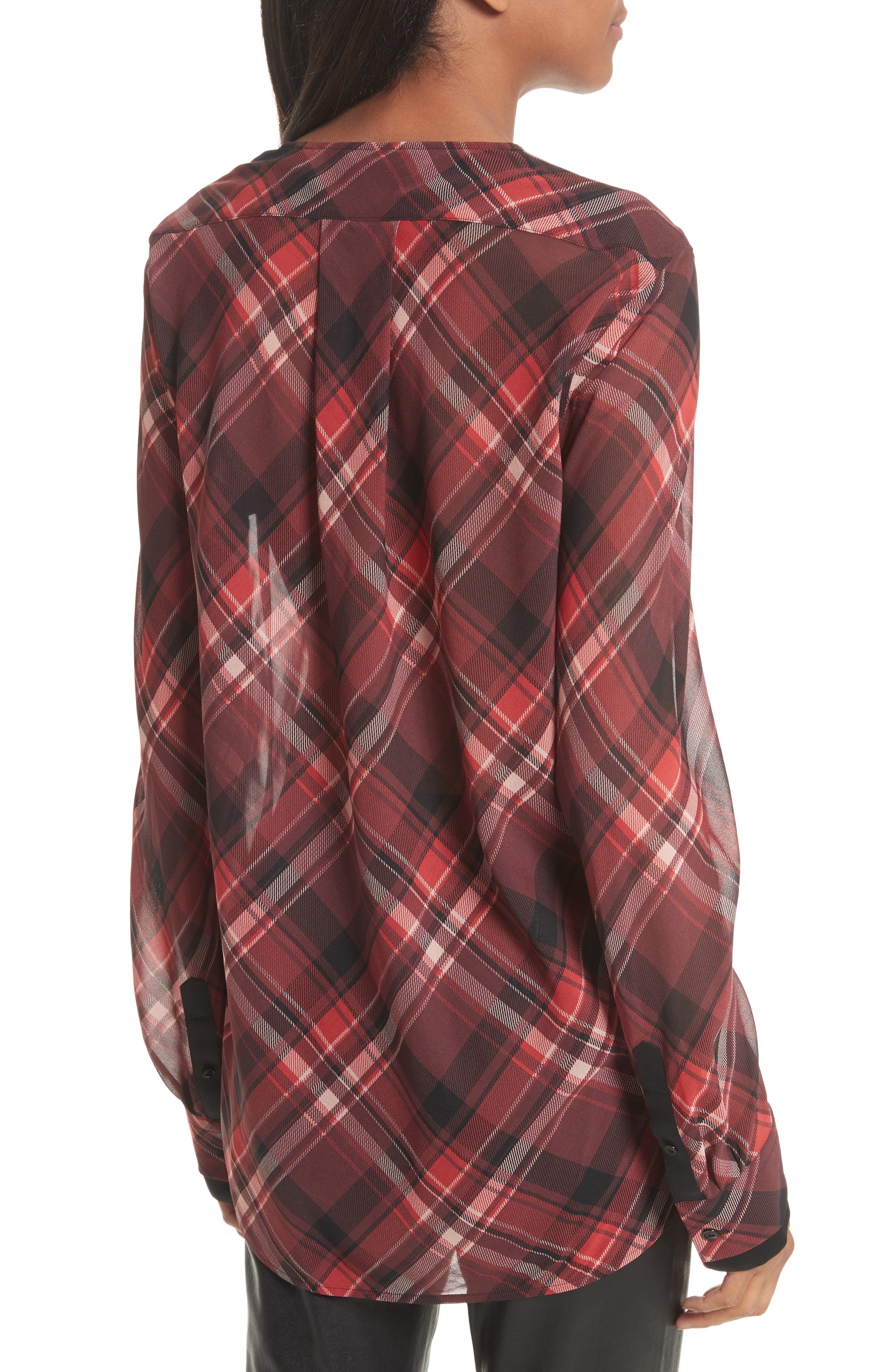 Victor Stretch Silk Blouse,                             Alternate thumbnail 3, color,                             Red Plaid