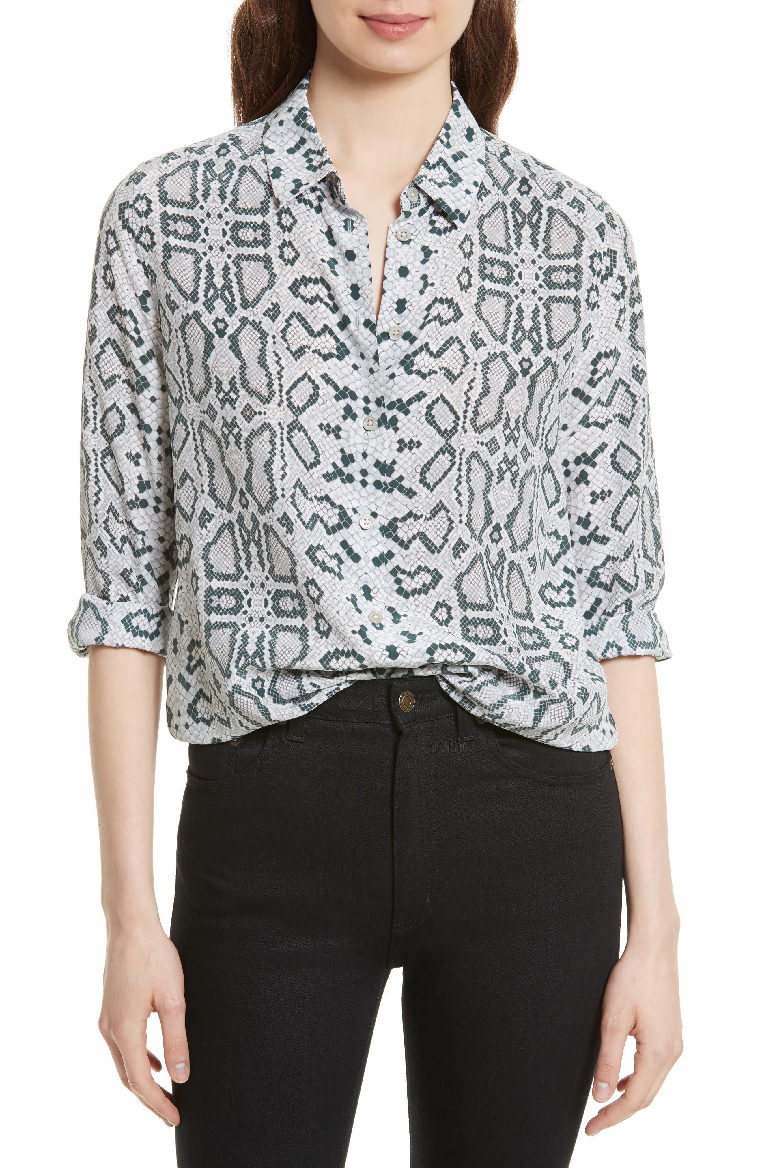 Essential Python Print Silk Shirt,                             Main thumbnail 1, color,                             Mineral Grey Multi