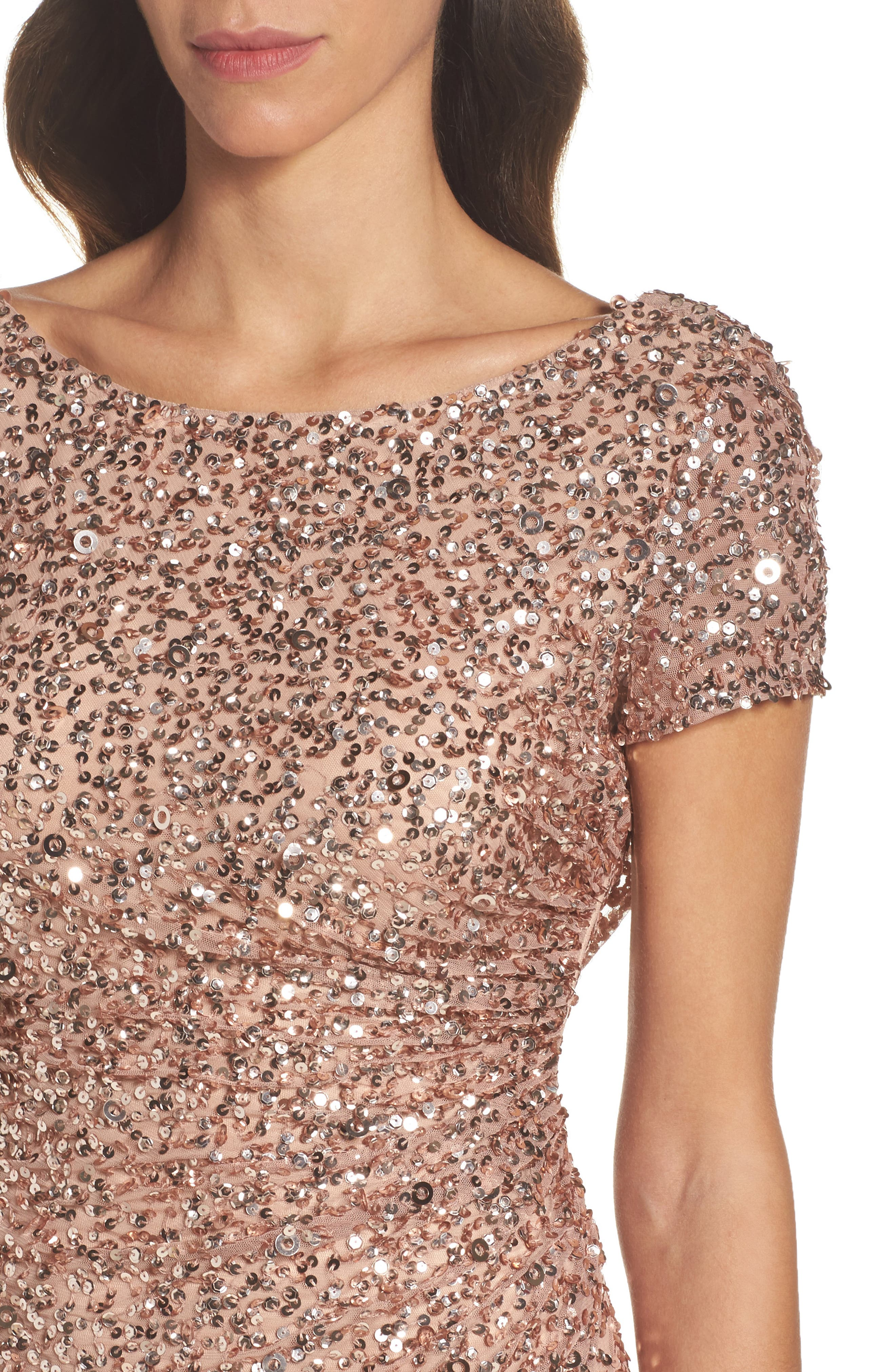 Alternate Image 4  - Adrianna Papell Sequin Cowl Back Gown (Regular & Petite)