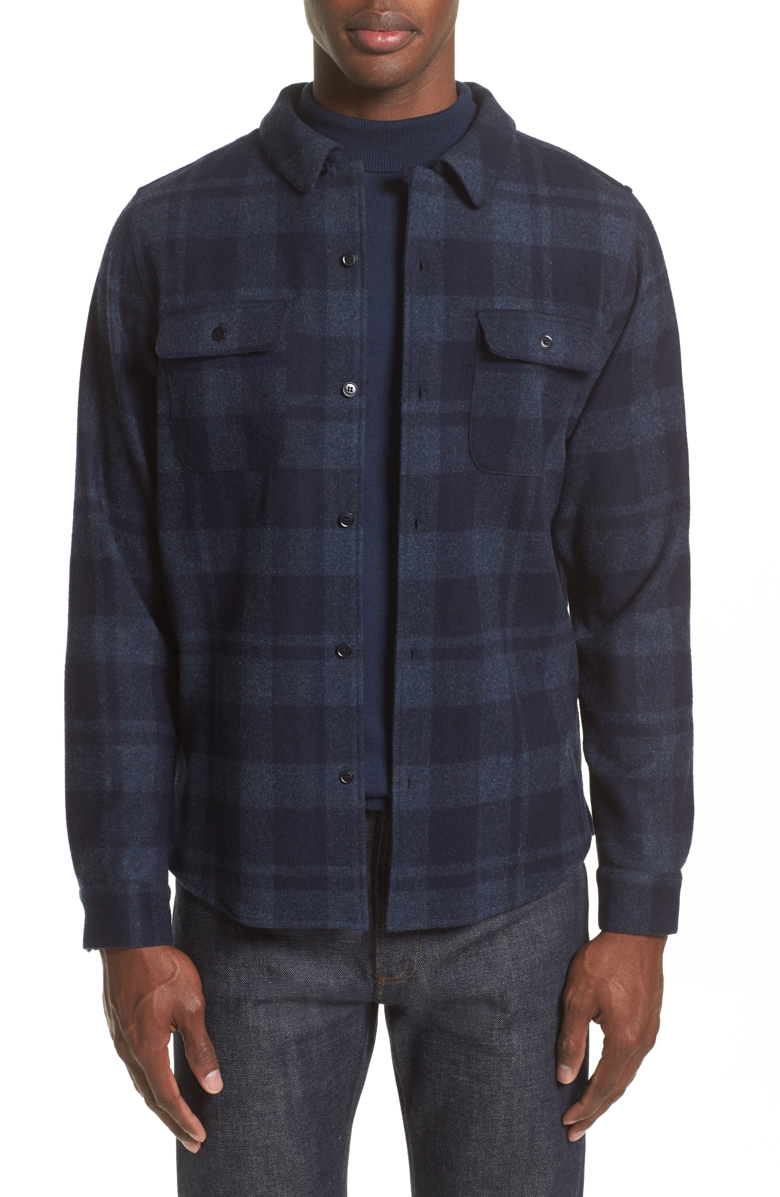 Alternate Image 1 Selected - A.P.C. Flannel Plaid Shirt