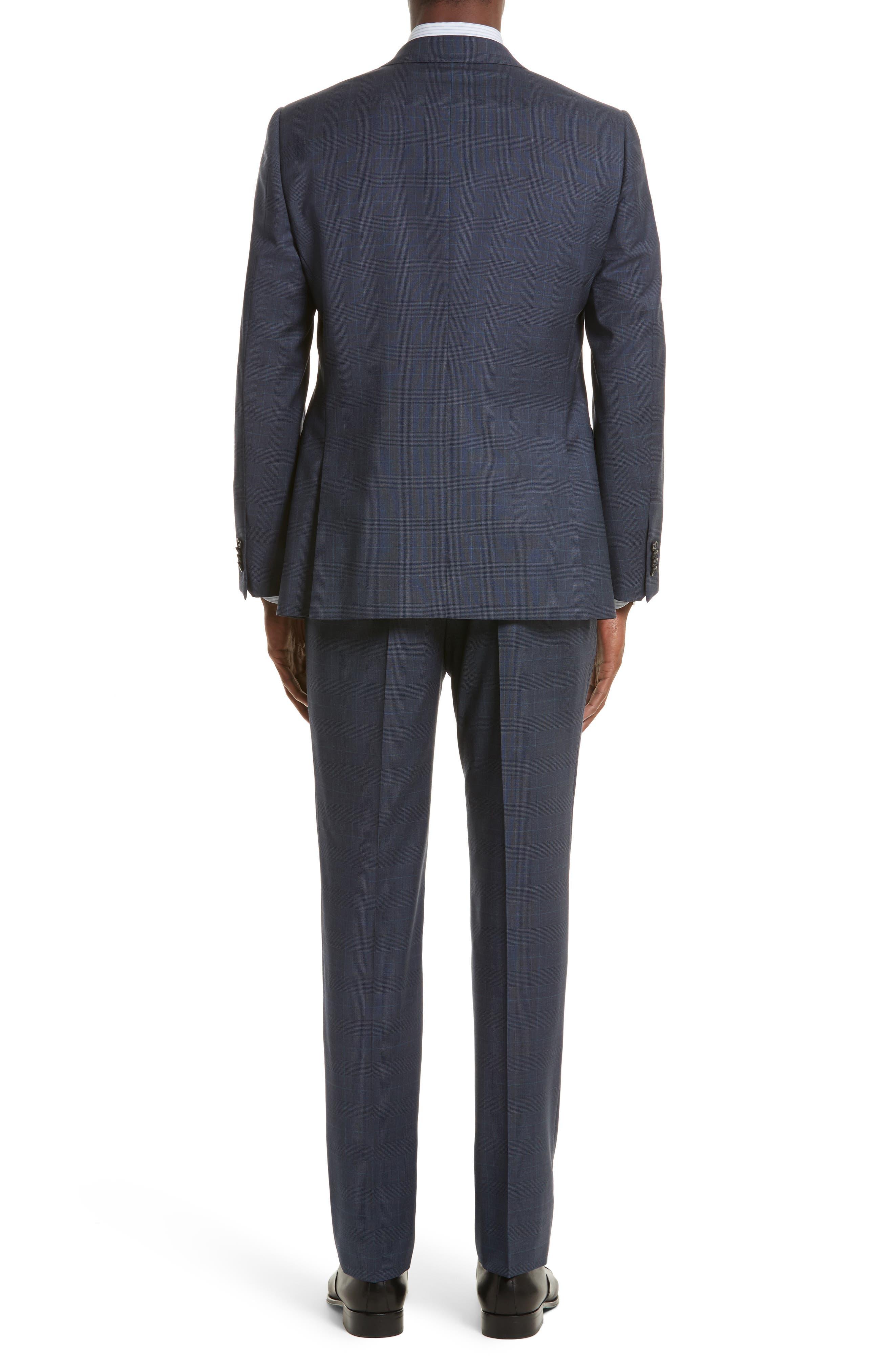 Drop 7 Trim Fit Plaid Wool Suit,                             Alternate thumbnail 2, color,                             Navy