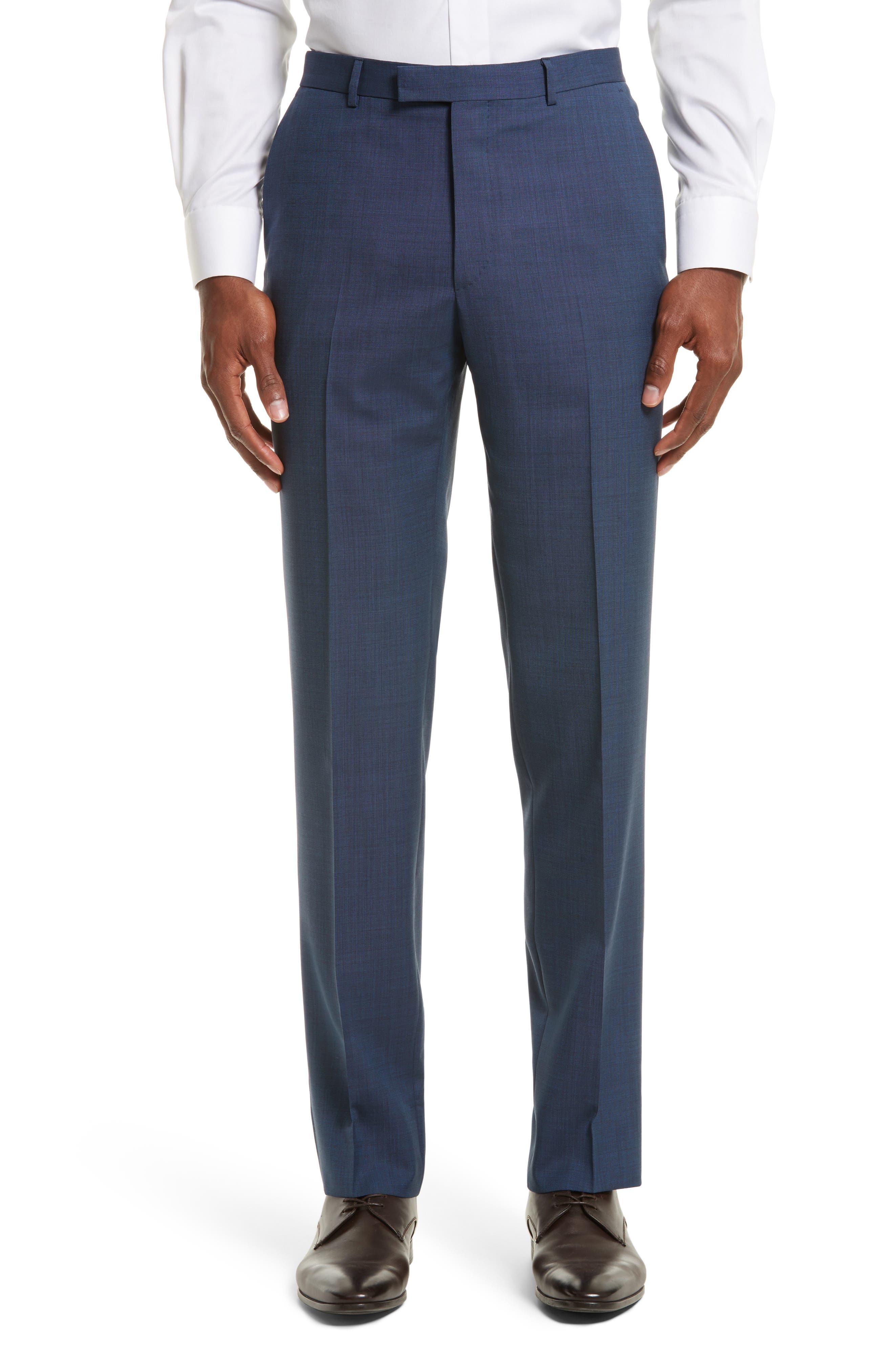 Drop 7 Trim Fit Solid Wool & Silk Suit,                             Alternate thumbnail 6, color,                             Navy