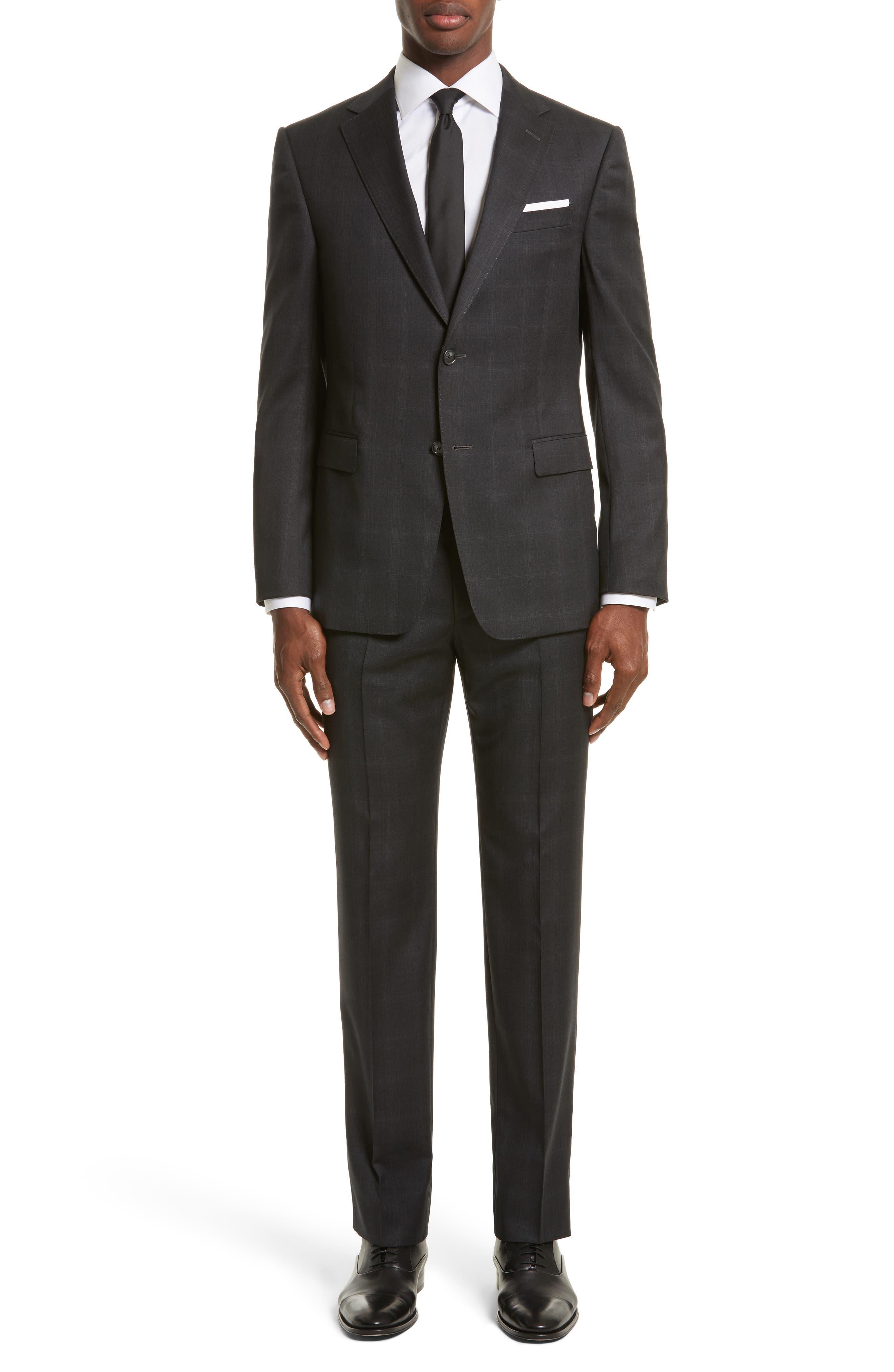 Drop 7 Trim Fit Plaid Wool Suit,                         Main,                         color, Charcoal