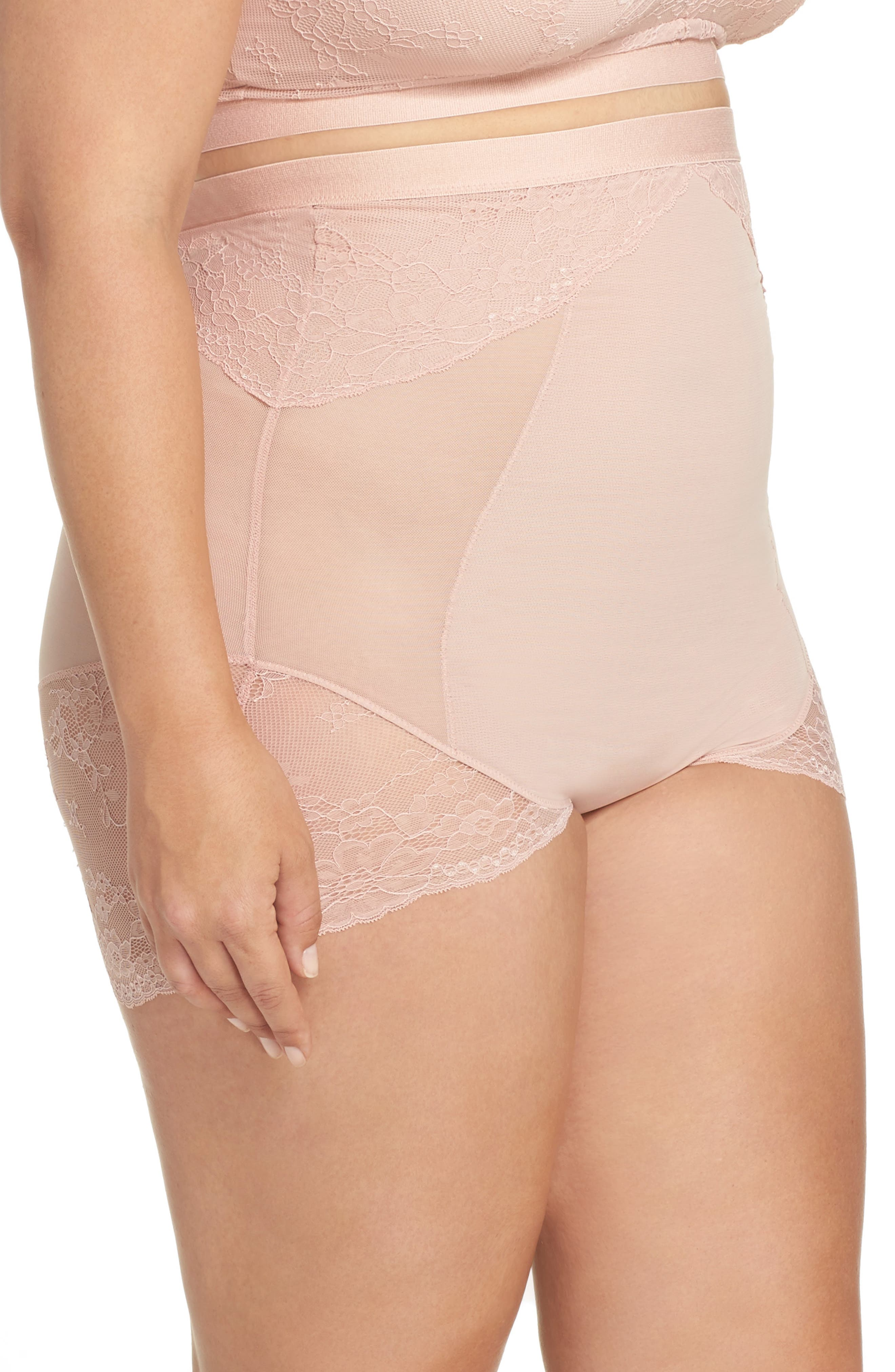 Alternate Image 3  - SPANX® Spotlight On Lace High Waist Briefs (Plus Size)