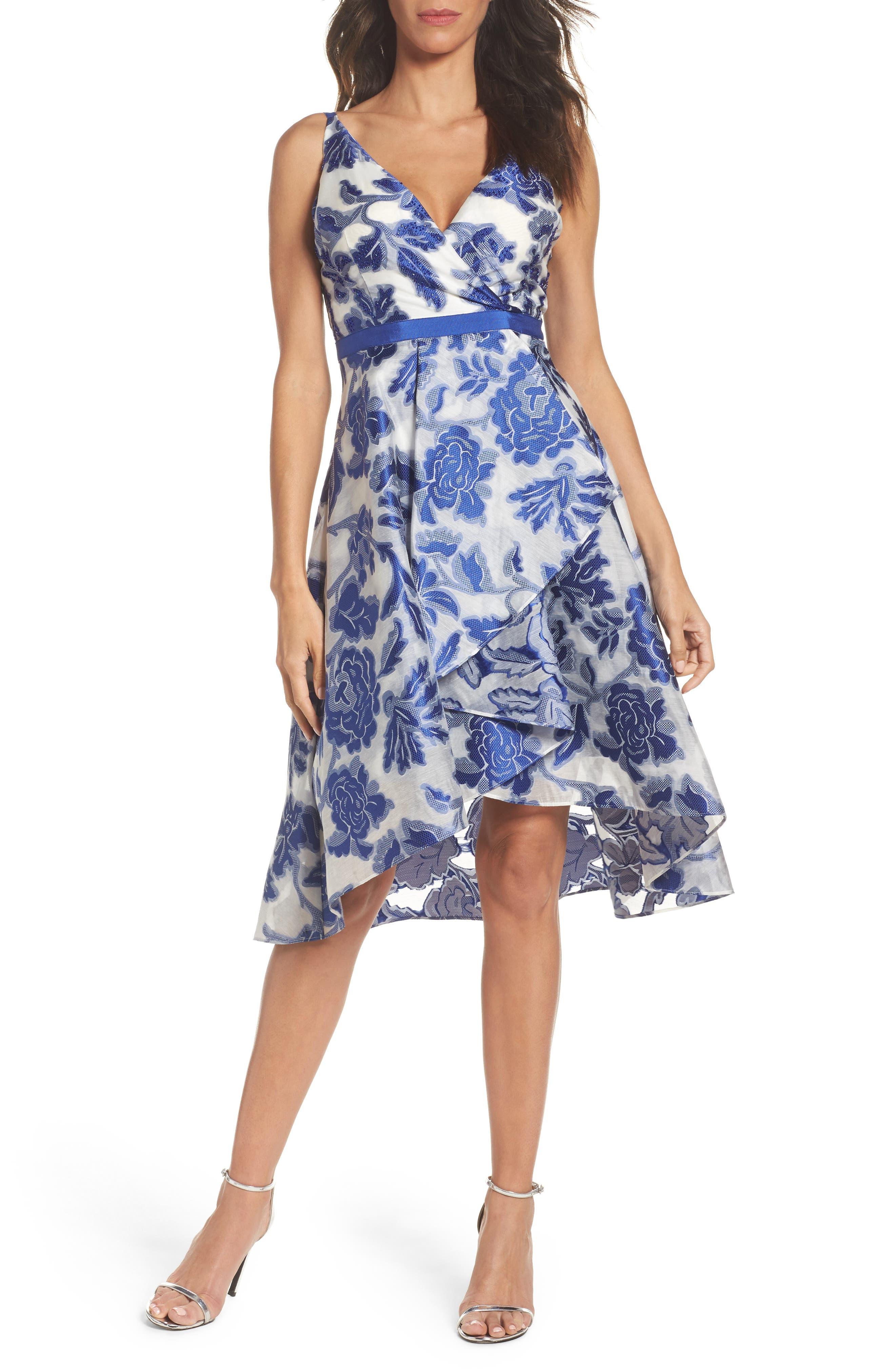 Burnout Jacquard Fit & Flare Dress,                         Main,                         color, Royal/ Ivory
