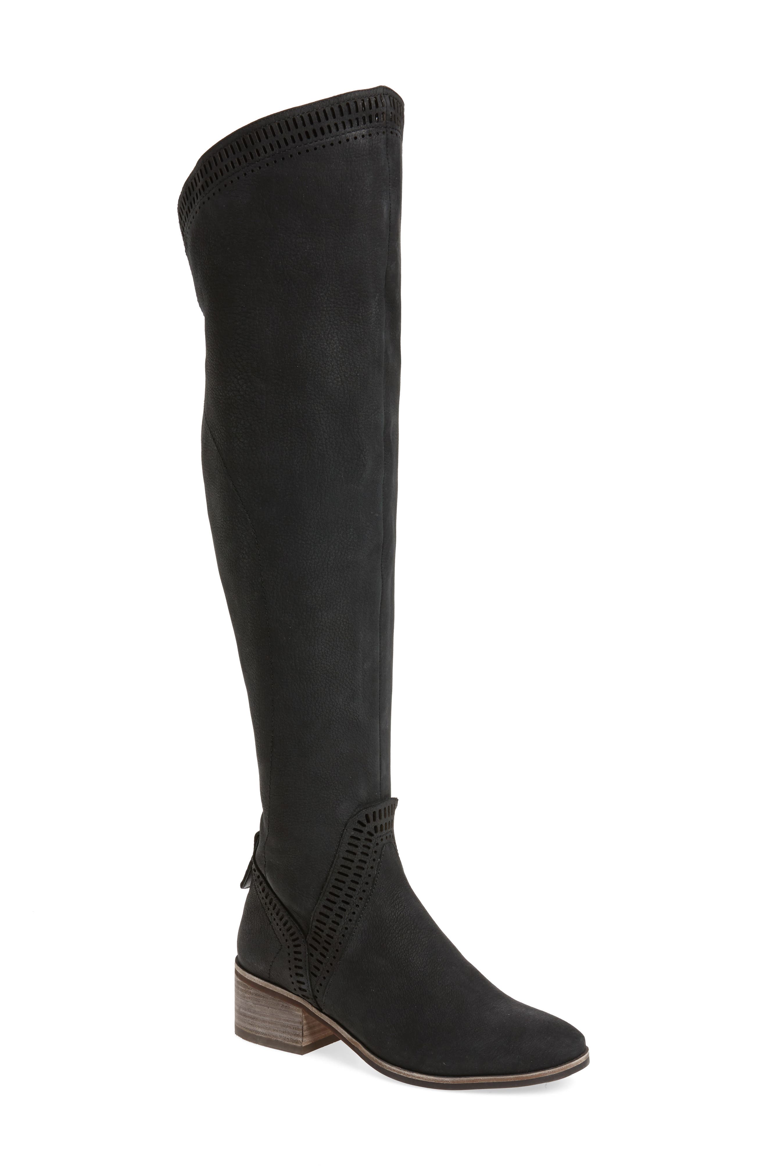 Karinda Over the Knee Boot,                             Main thumbnail 1, color,                             Black Leather Wide Calf