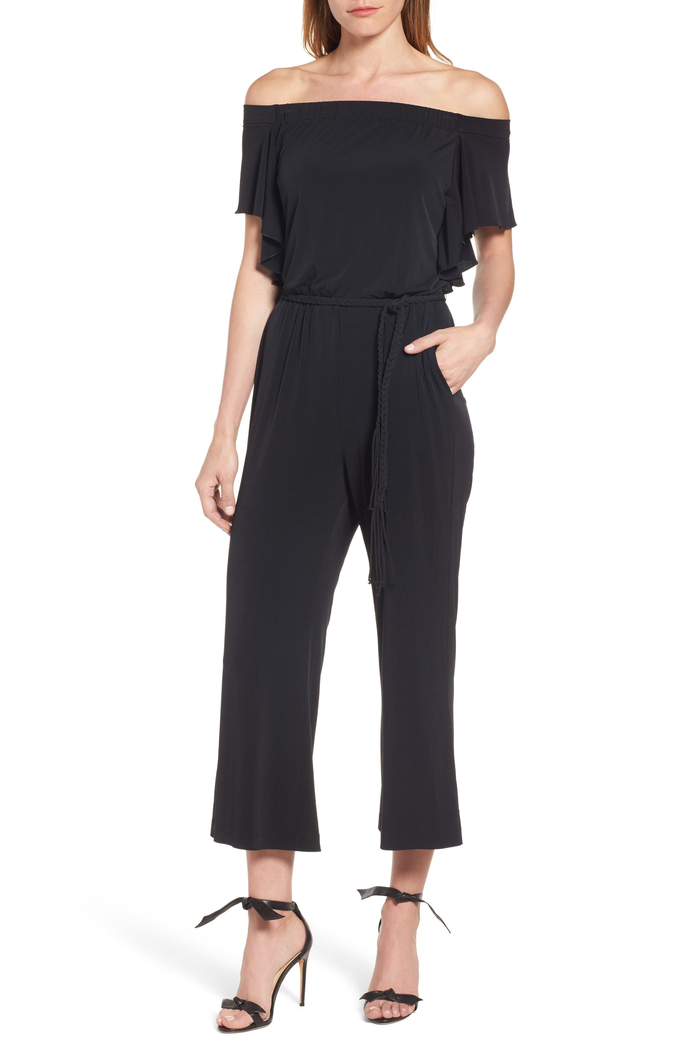 Shay Off the Shoulder Crop Jumpsuit,                         Main,                         color, Black