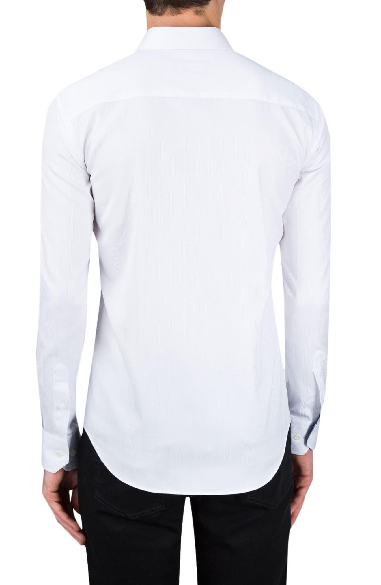 Classic Fit Stripe Jacquard Sport Shirt,                             Alternate thumbnail 2, color,                             White
