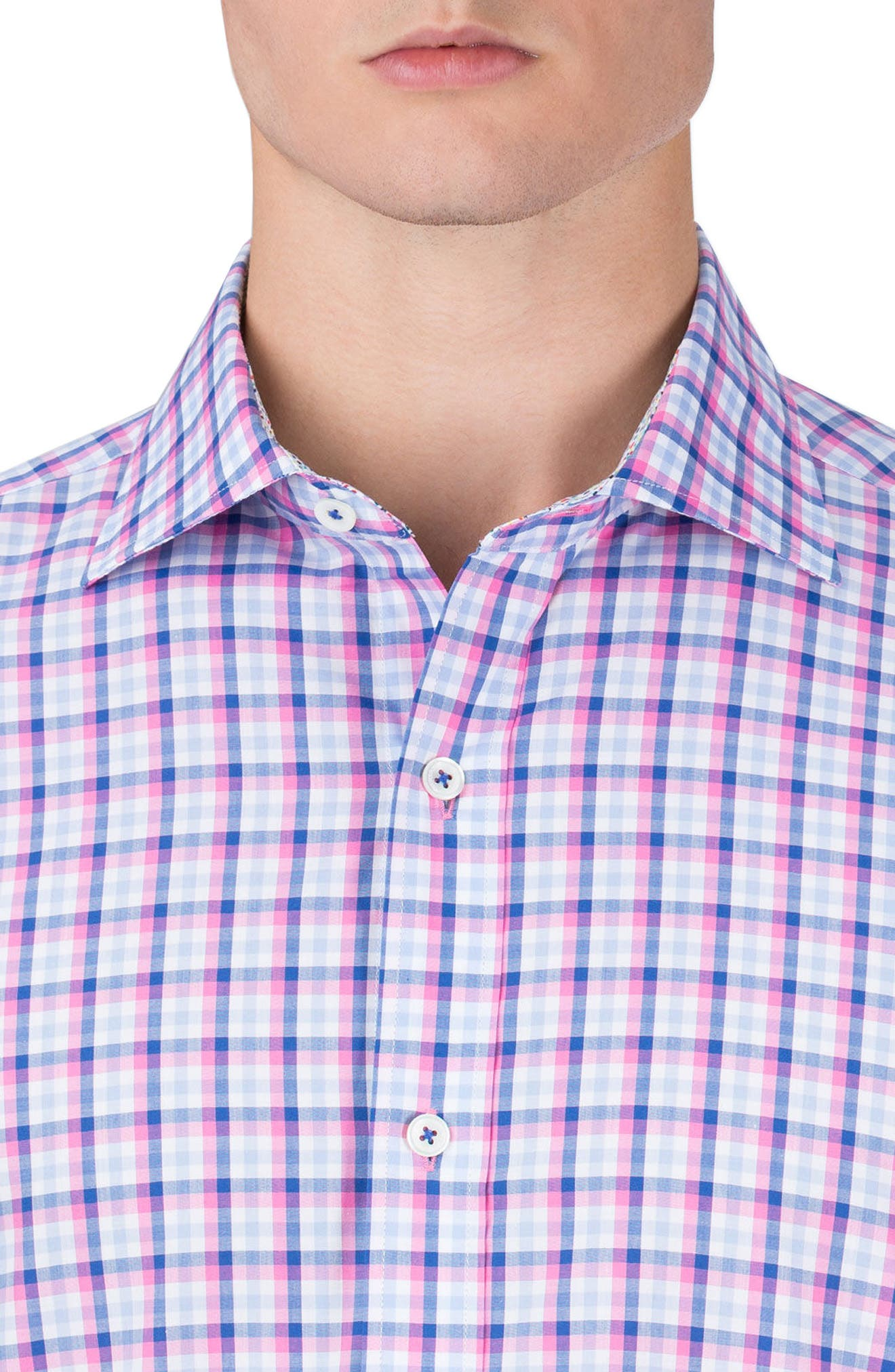 Shaped Fit Check Sport Shirt,                             Alternate thumbnail 3, color,                             Pink