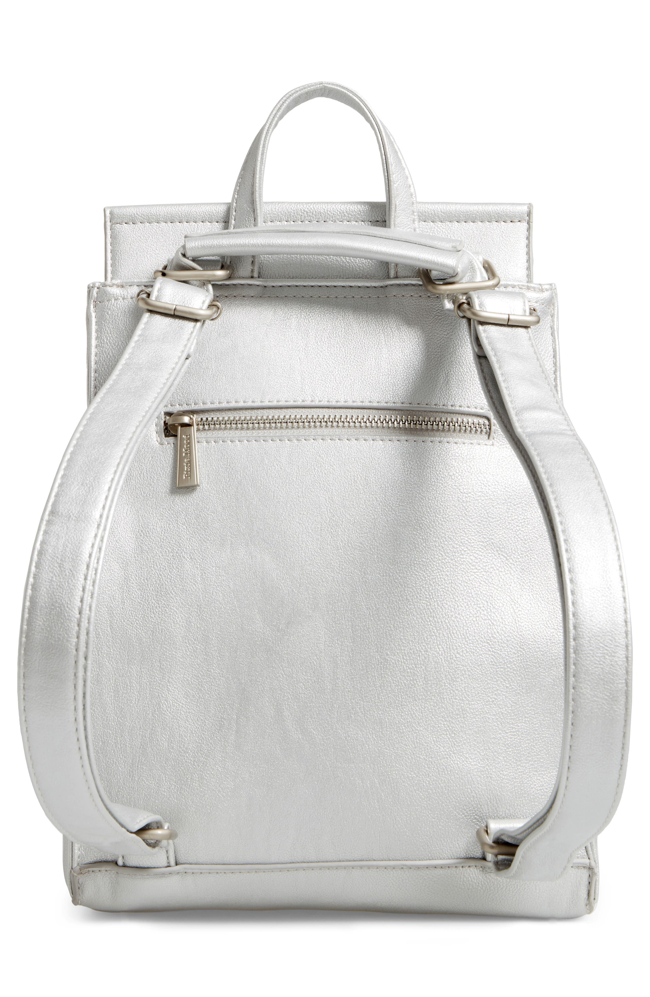 Faux Leather Convertible Backpack,                             Alternate thumbnail 2, color,                             Silver