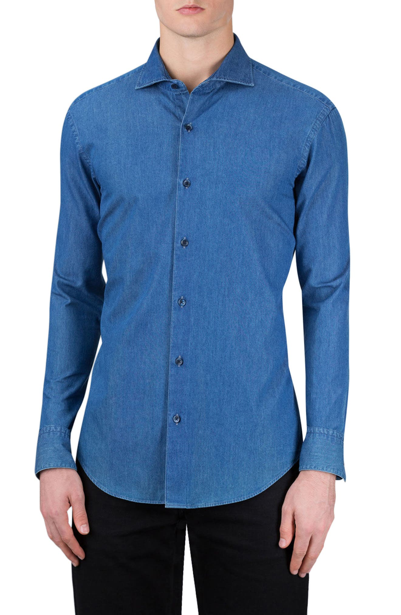 Alternate Image 1 Selected - Bugatchi Classic Fit Chambray Sport Shirt