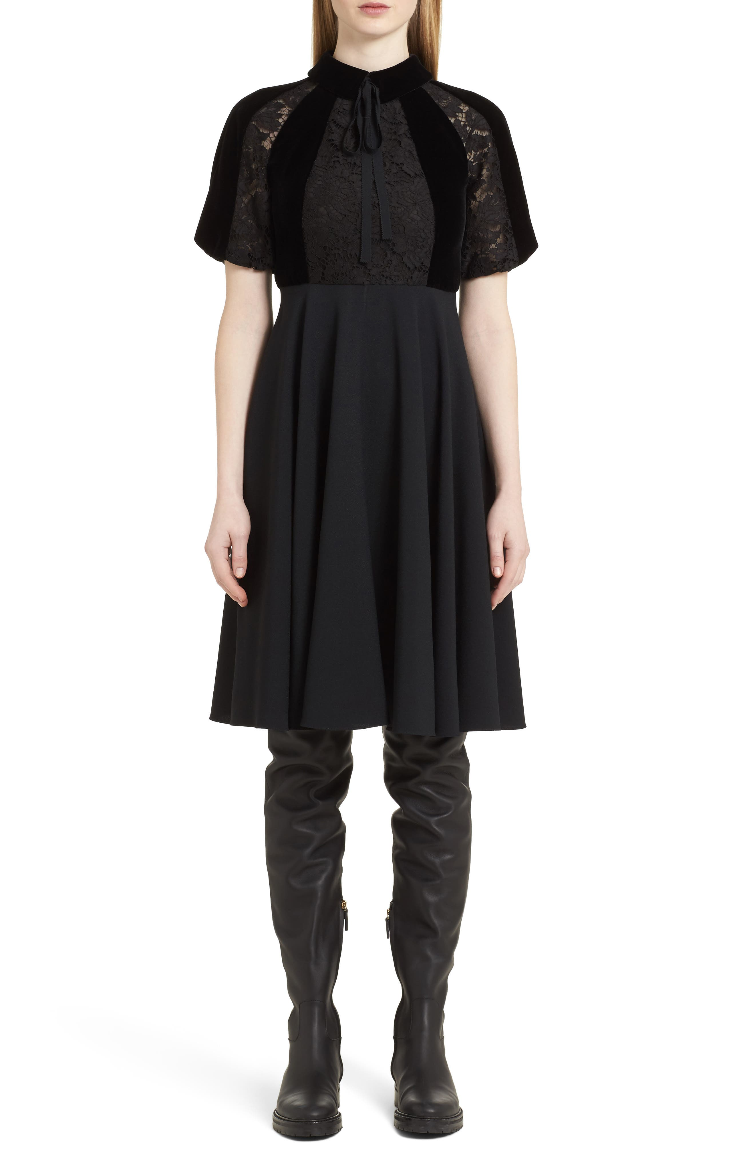 Guipure Lace Inset Crepe Dress,                             Main thumbnail 1, color,                             Black