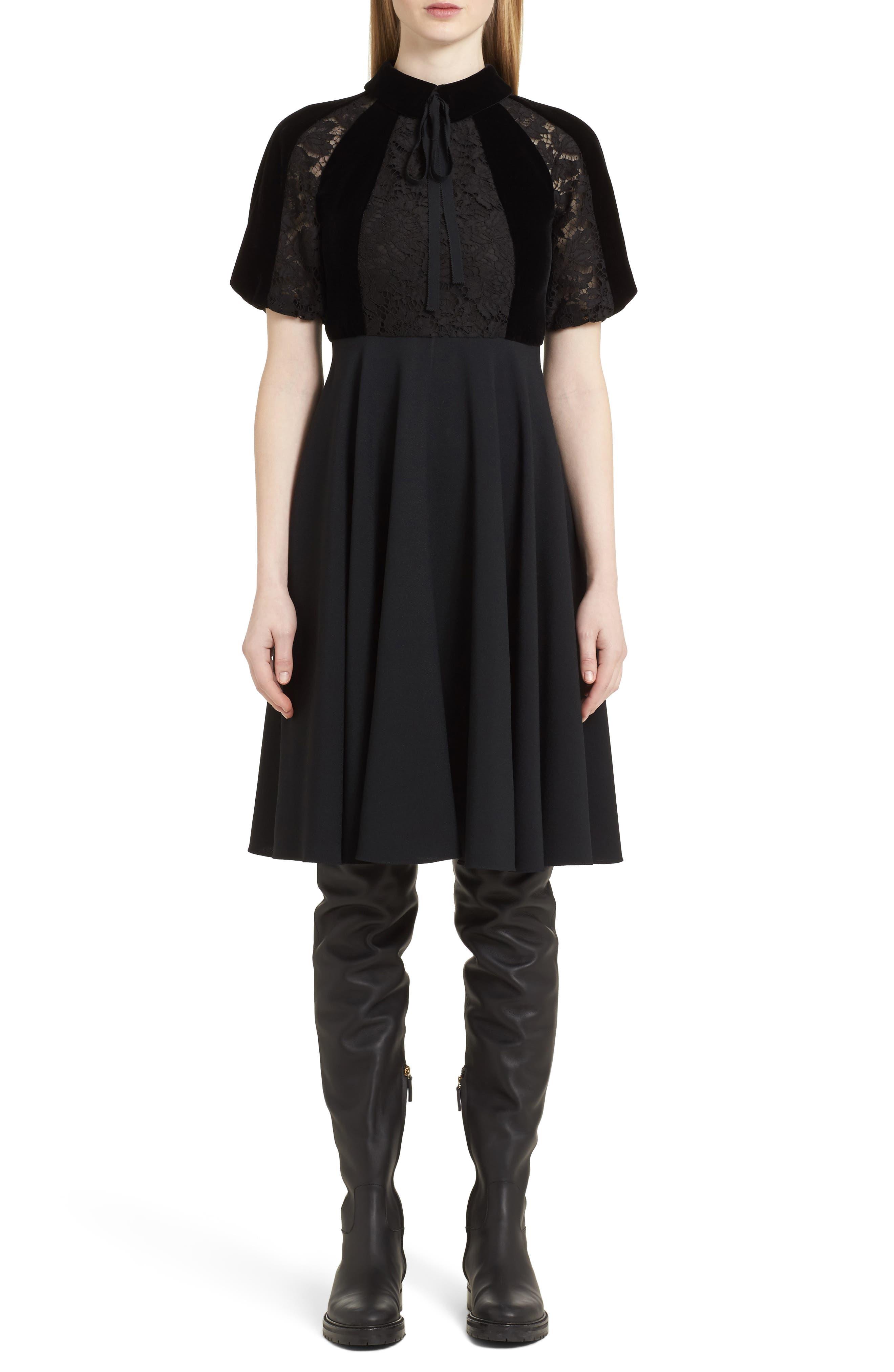Guipure Lace Inset Crepe Dress,                         Main,                         color, Black