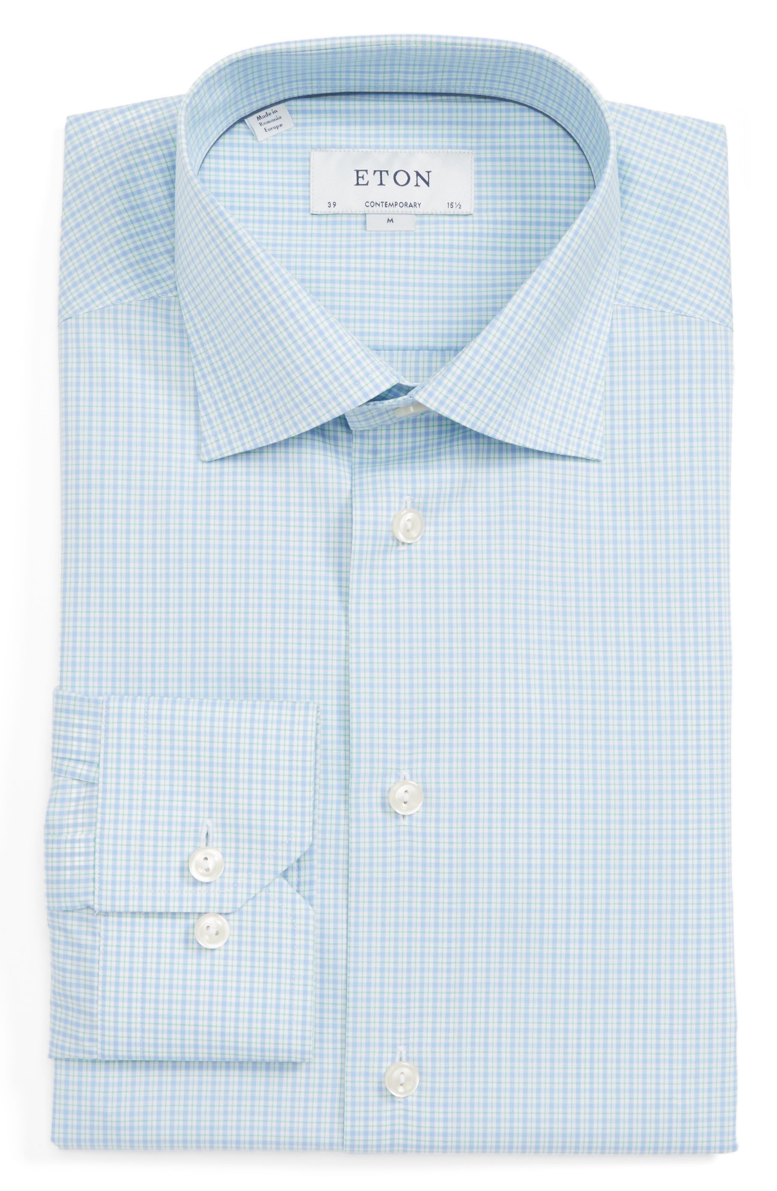 Contemporary Fit Check Dress Shirt,                         Main,                         color, Blue/ Green