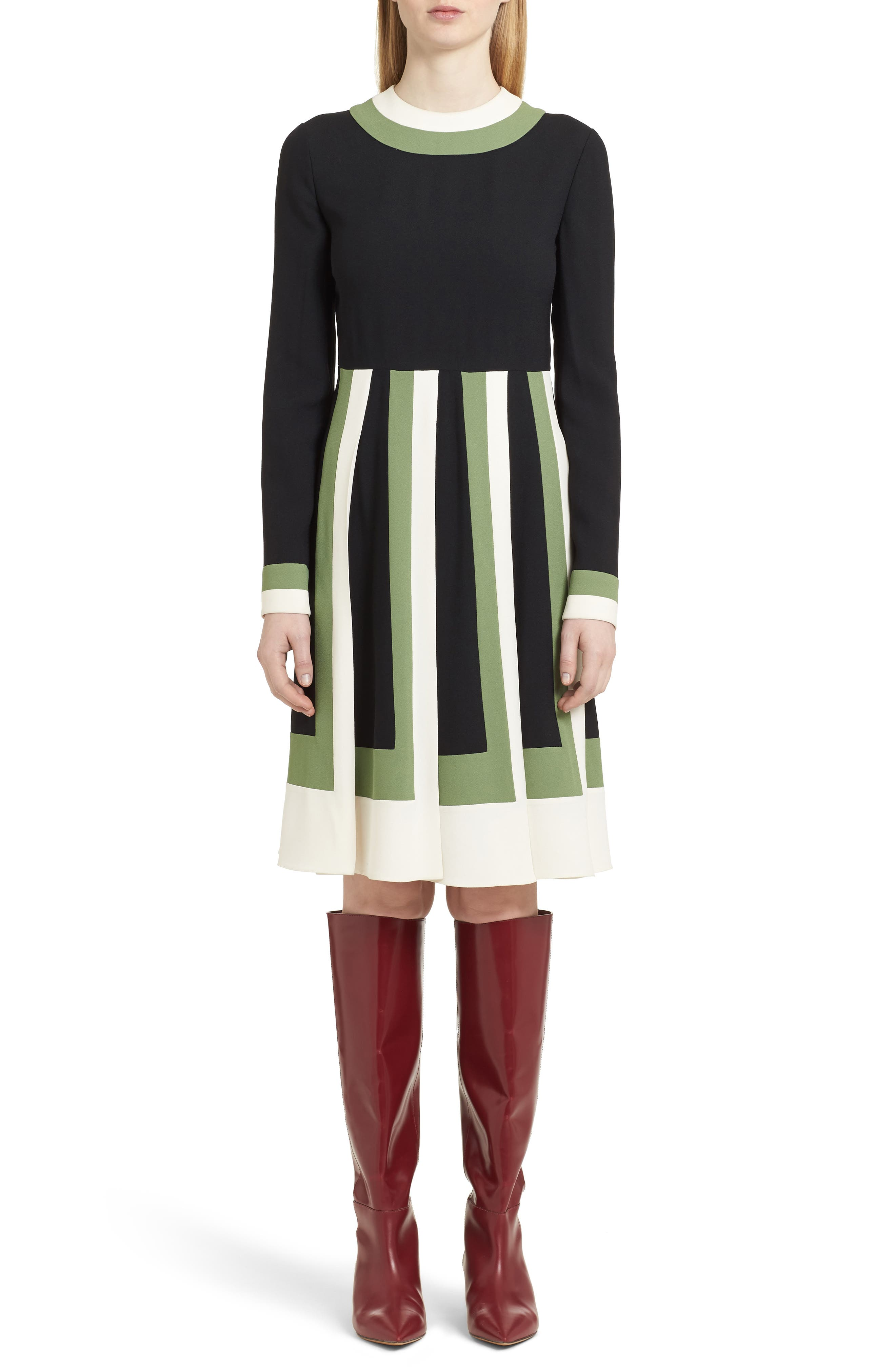 Multicolor Pleat Crepe Dress,                             Main thumbnail 1, color,                             Ivory/ Black/ Green