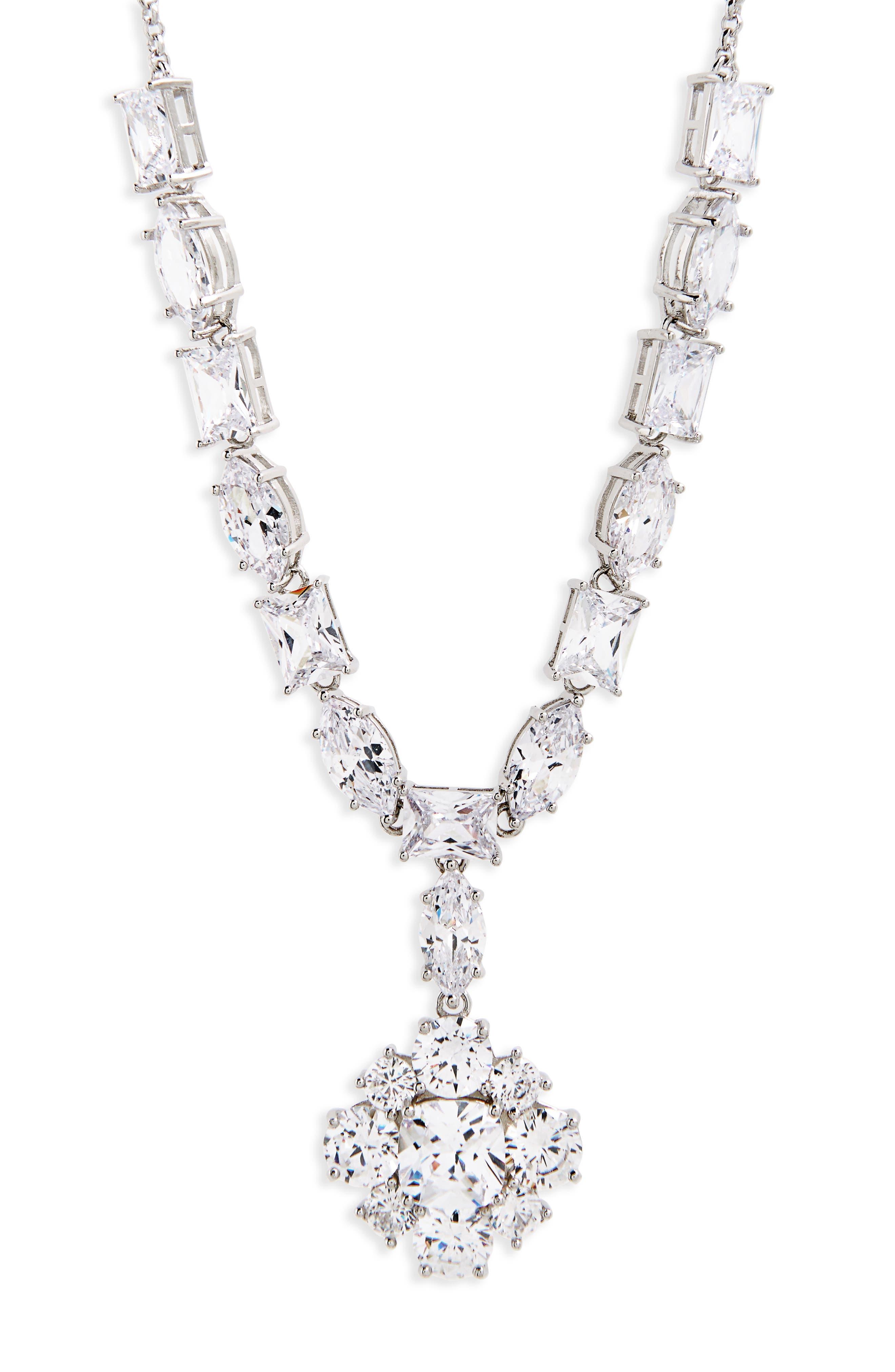 Cluster Pendant Necklace,                         Main,                         color, Silver