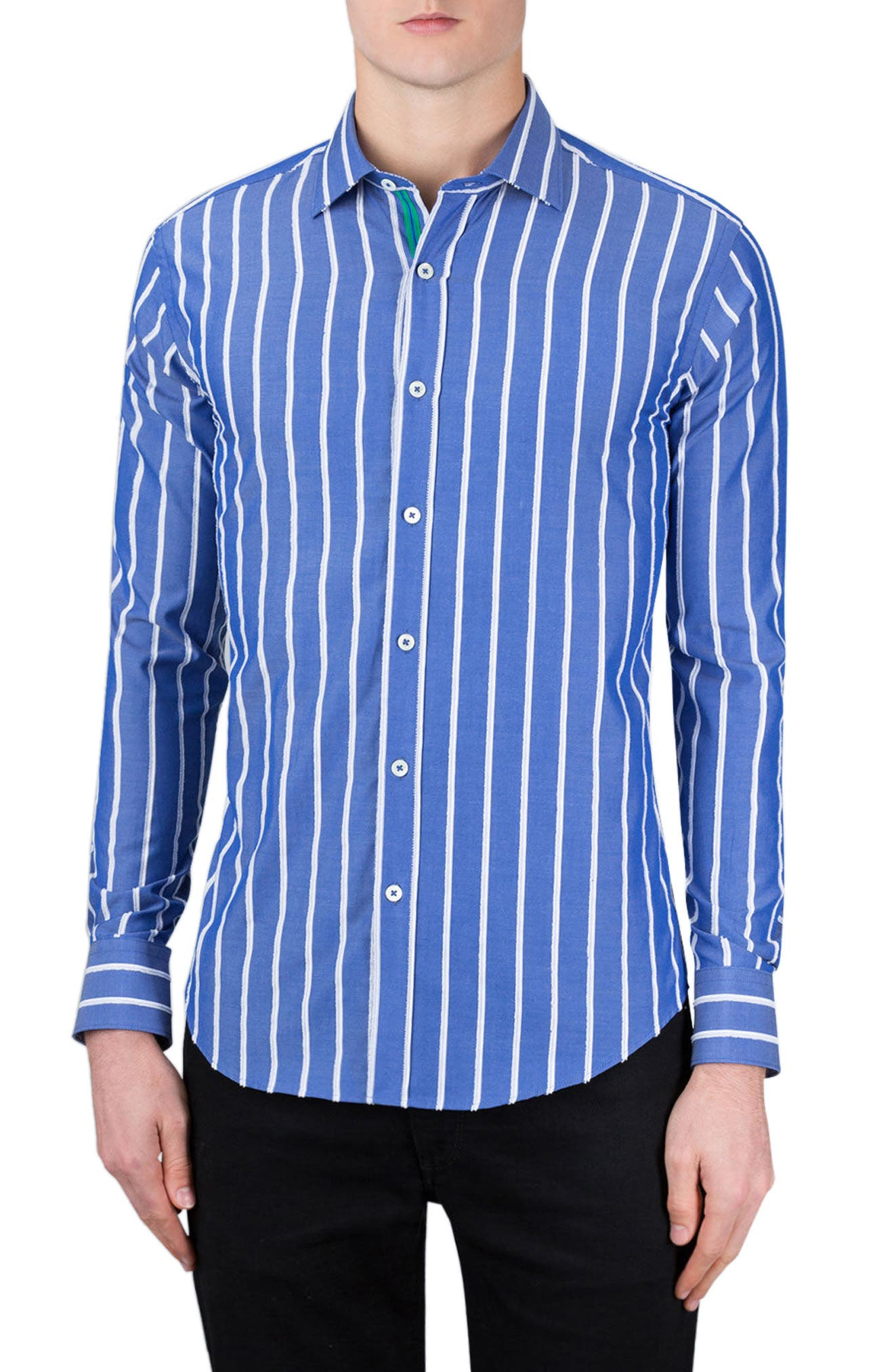 Classic Fit Vertical Stripe Sport Shirt,                         Main,                         color, Night Blue