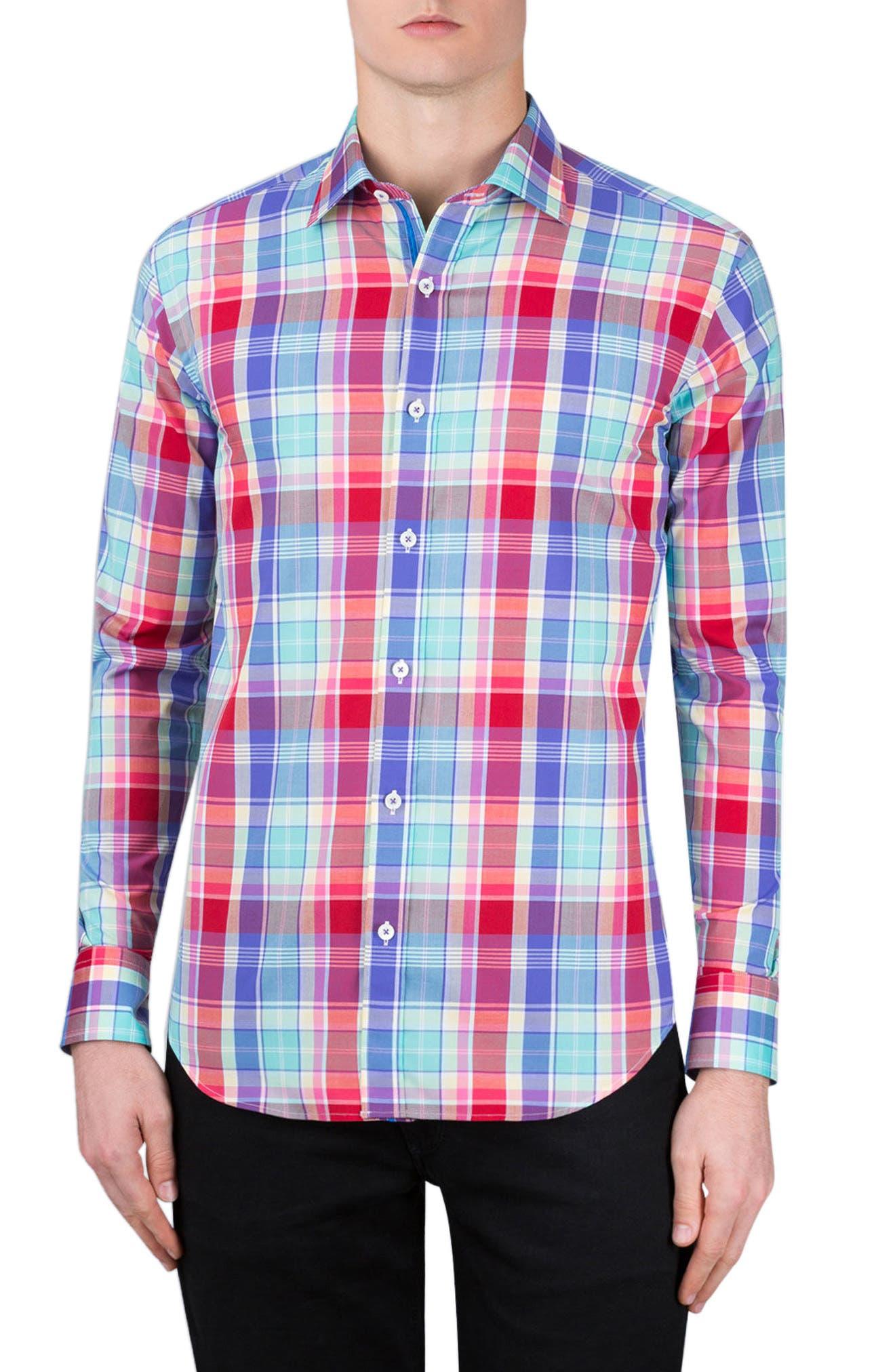 Classic Fit Plaid Sport Shirt,                         Main,                         color, Ruby
