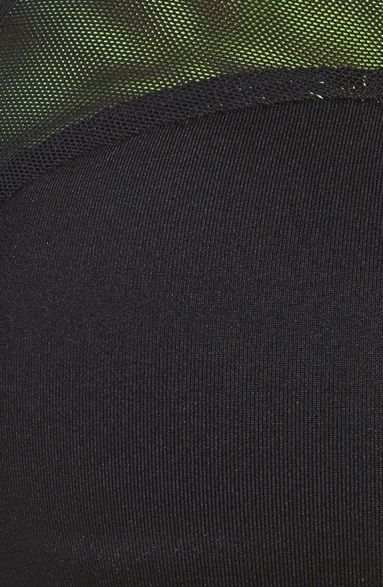 Pro Classic Swoosh Modern Sports Bra,                             Alternate thumbnail 4, color,                             Black/ Black/ Volt/ White