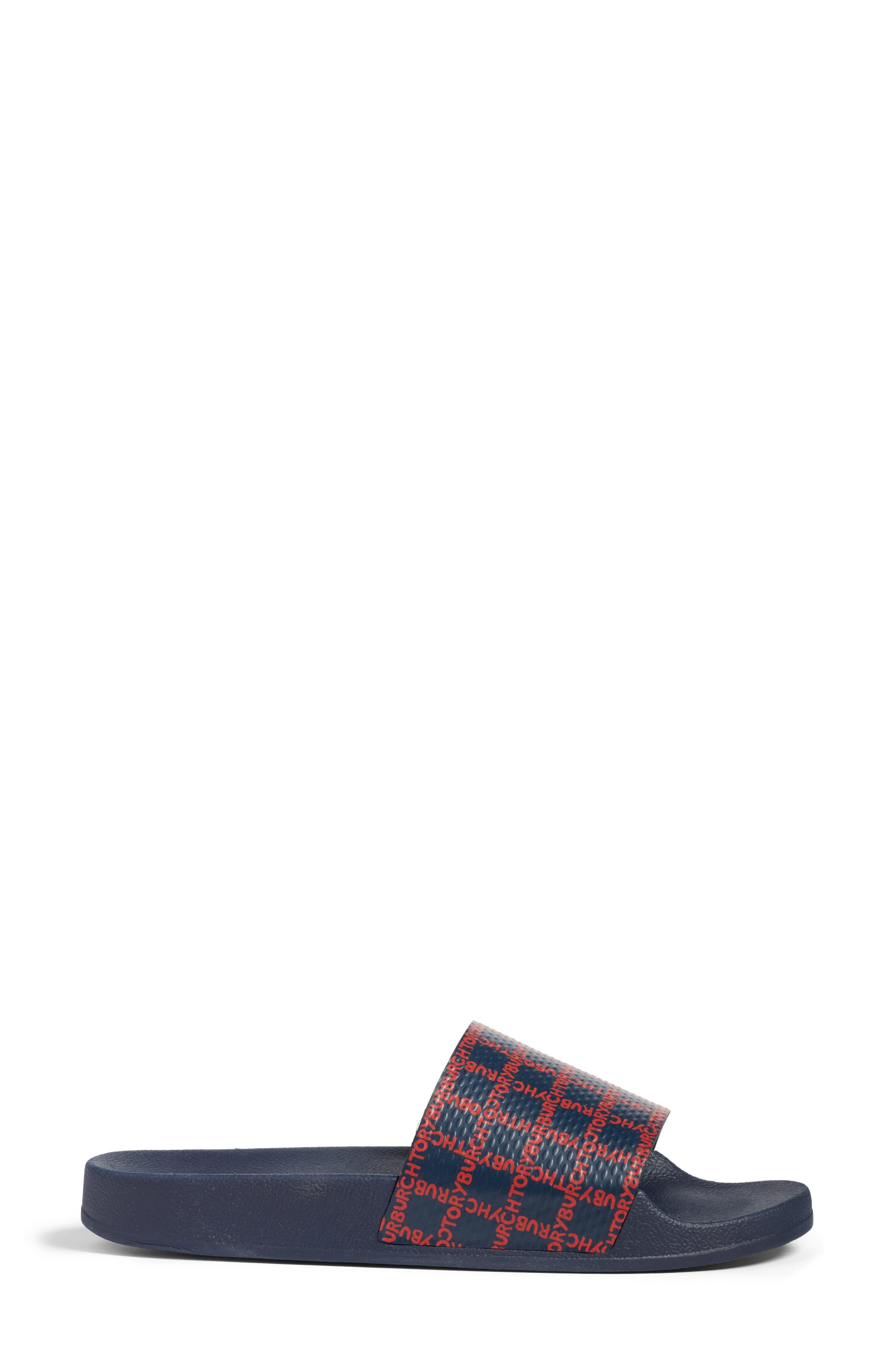 Stormy Slide Sandal,                             Alternate thumbnail 3, color,                             Tory Navy/ Tory Red
